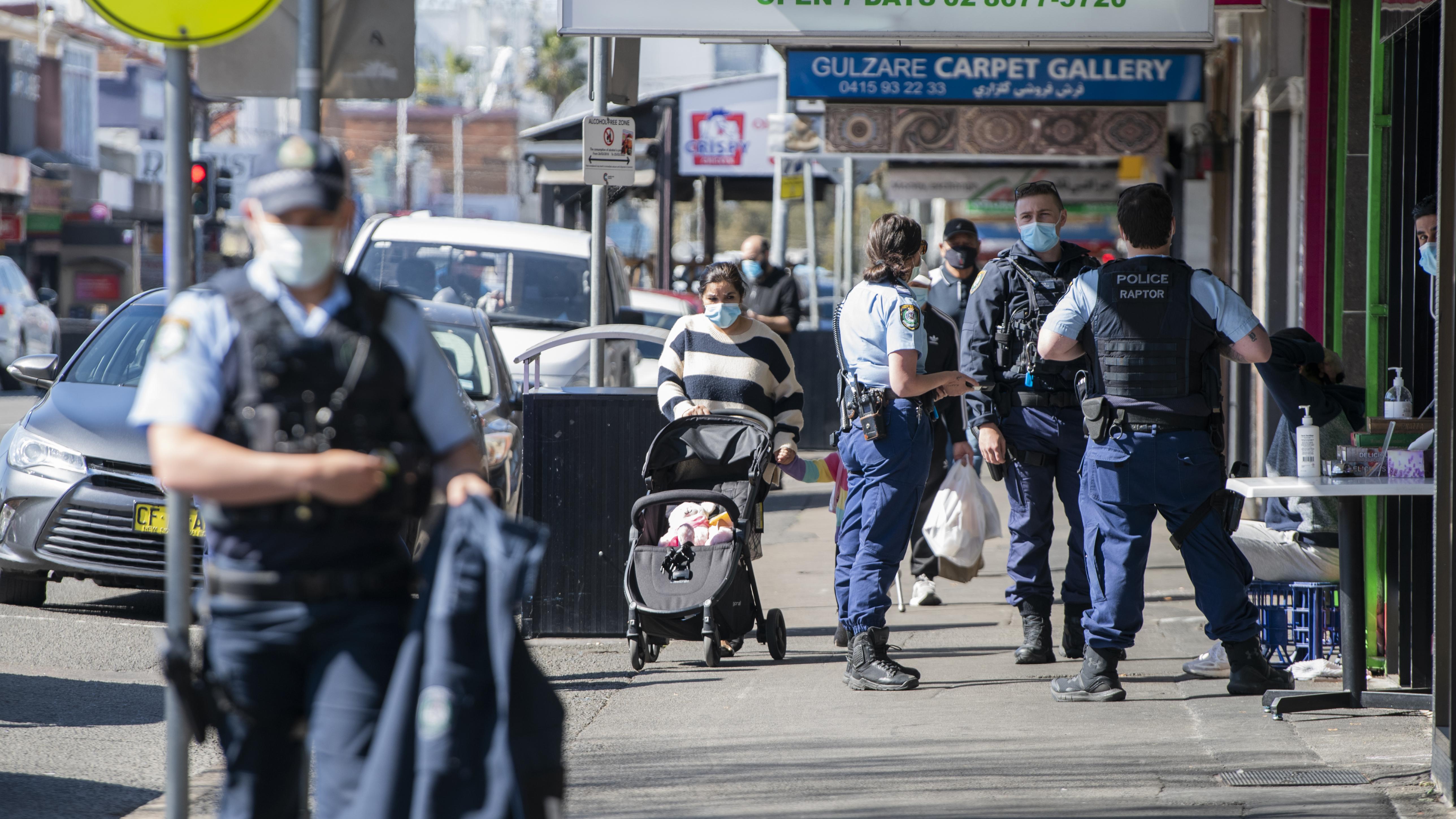 Police on Merrylands Road, Merrylands, Sydney.