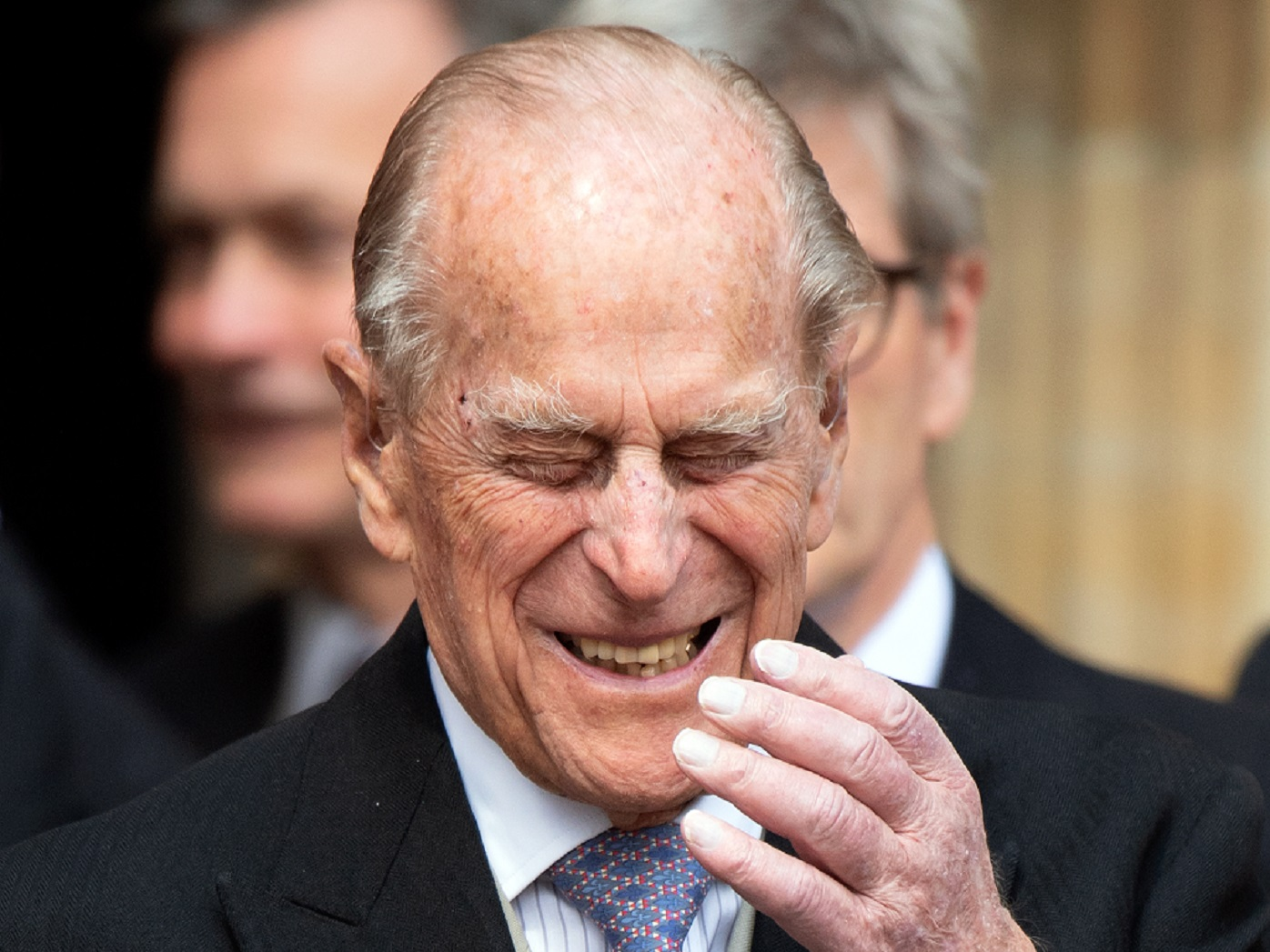 Prince Philip laughing eyes closed