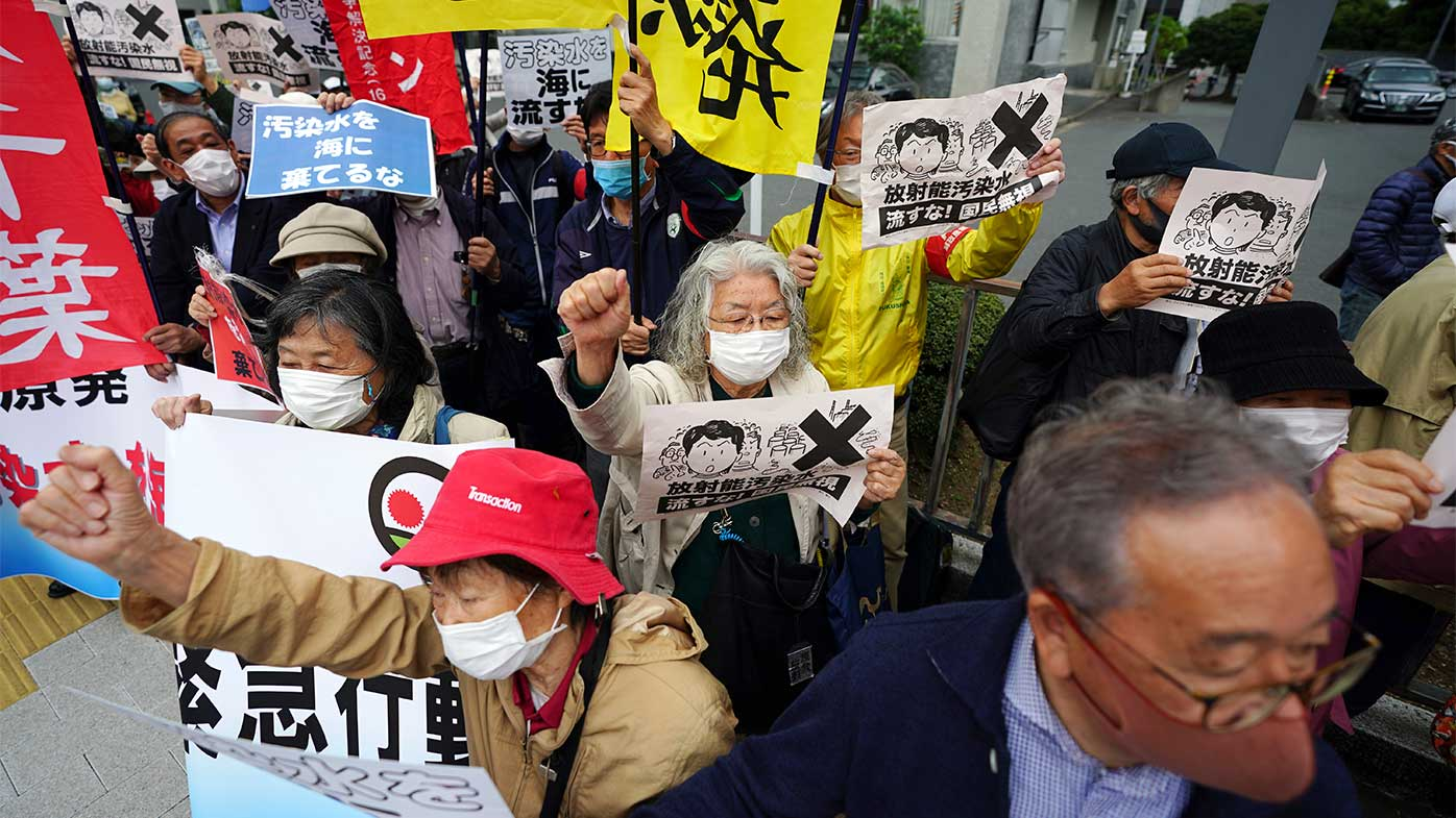Protesters in Tokyo chant slogans against government's decision to start releasing massive amounts of treated radioactive water from the wrecked Fukushima nuclear plant into the sea.