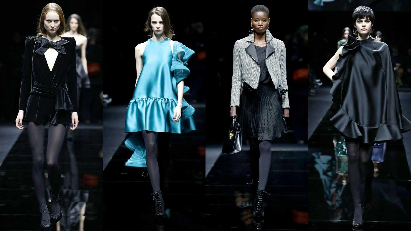 Models wear Armani designs on the catwalk at Milan Fashion Week.
