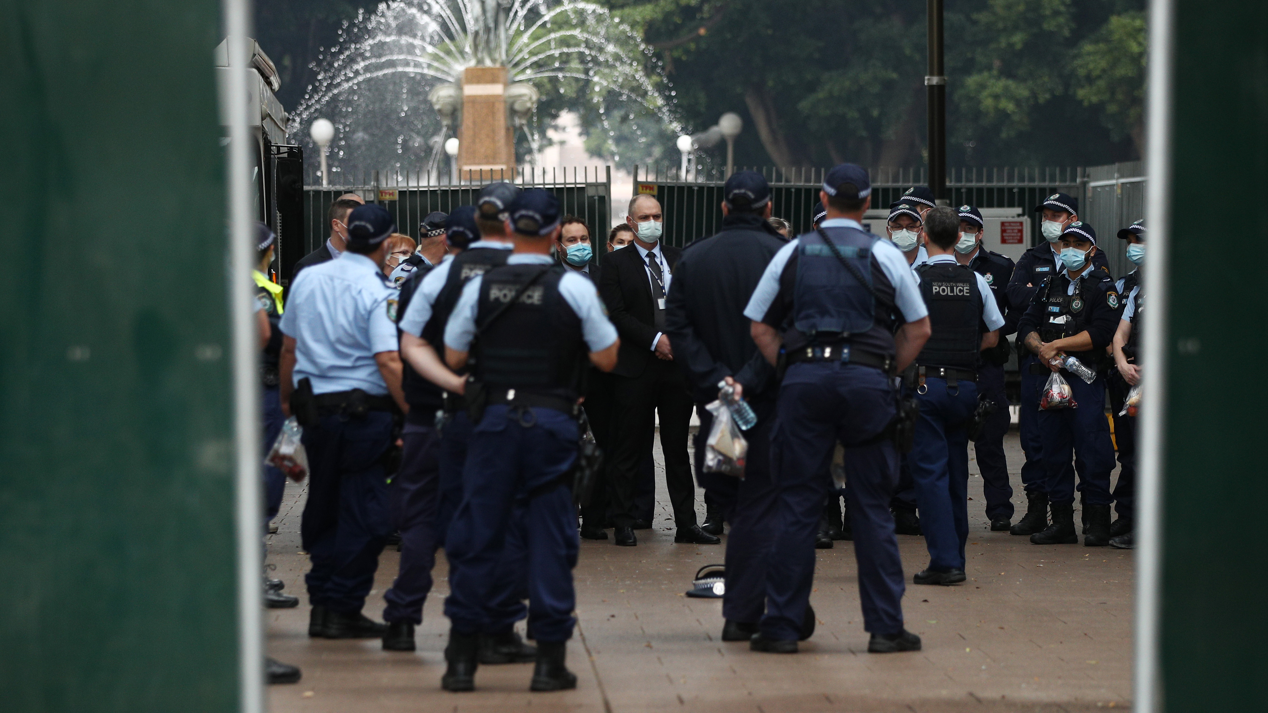 NSW Police assemble for a meeting in Hyde Park.