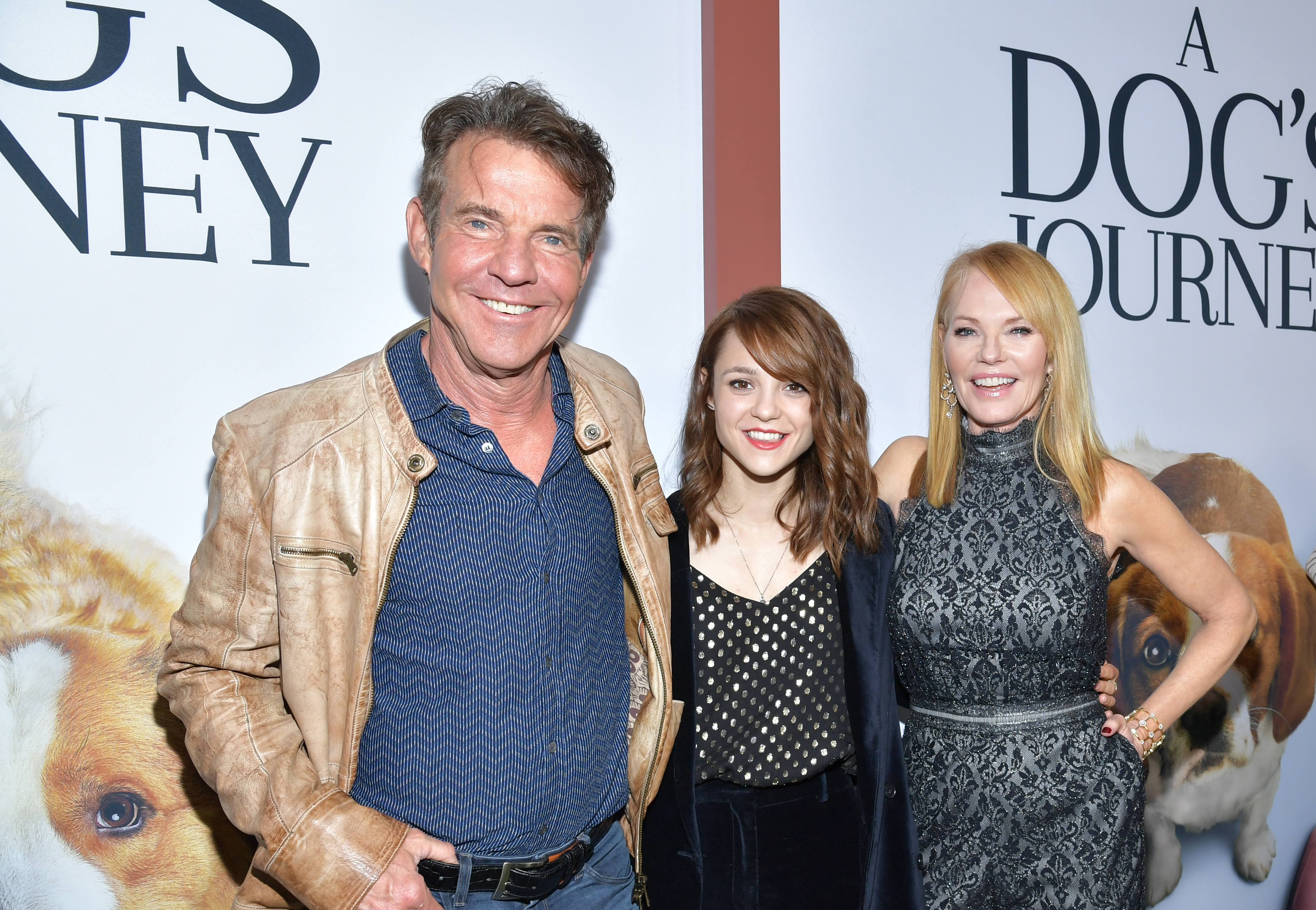 """Dennis Quaid, Kathryn Prescott and Marg Helgenberger attend the premiere of Universal Pictures' """"A Dog's Journey"""" at ArcLight Hollywood on May 09, 2019 in Hollywood, California."""