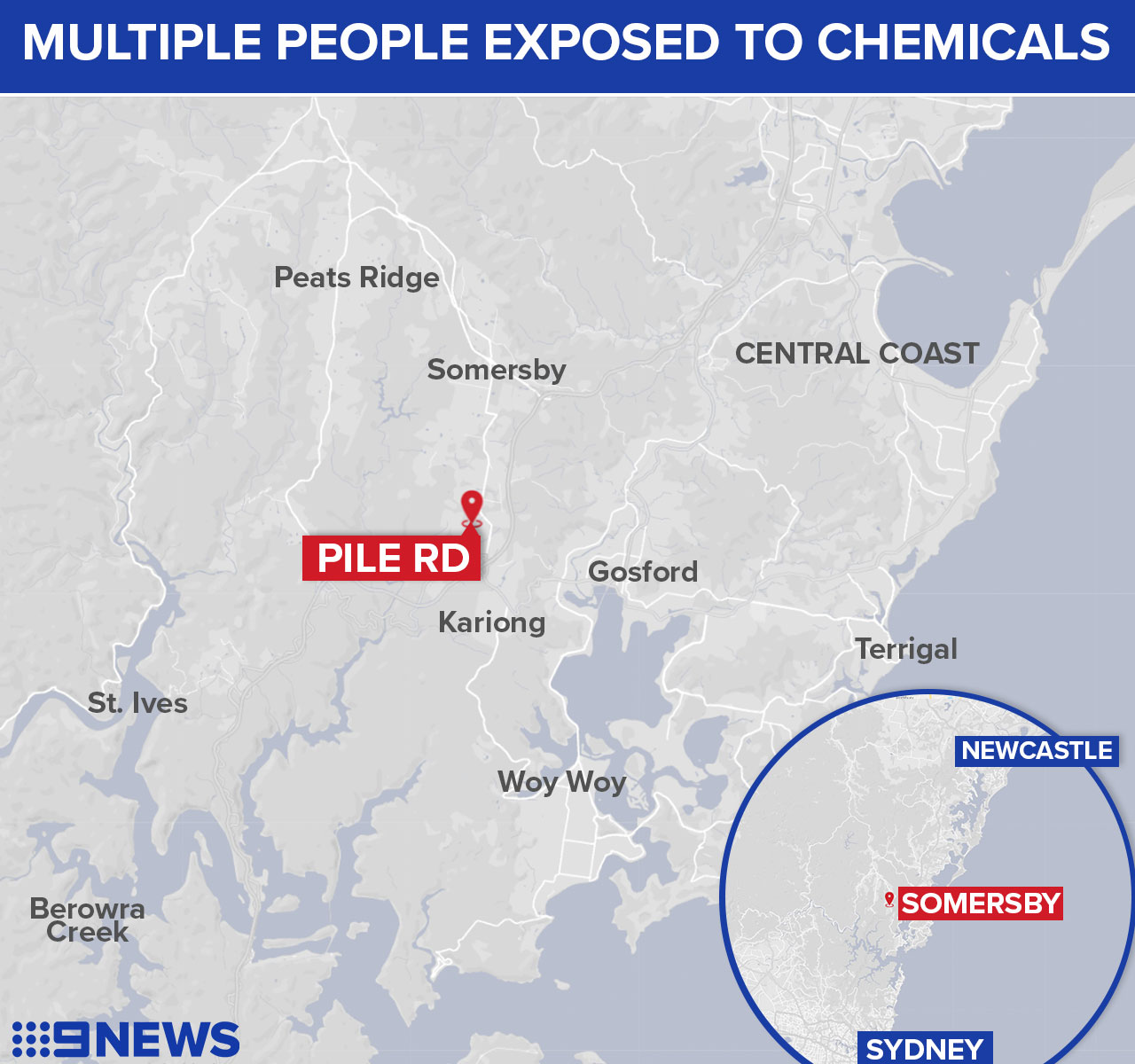 Two people hospitalised after chemical reaction north of Sydney