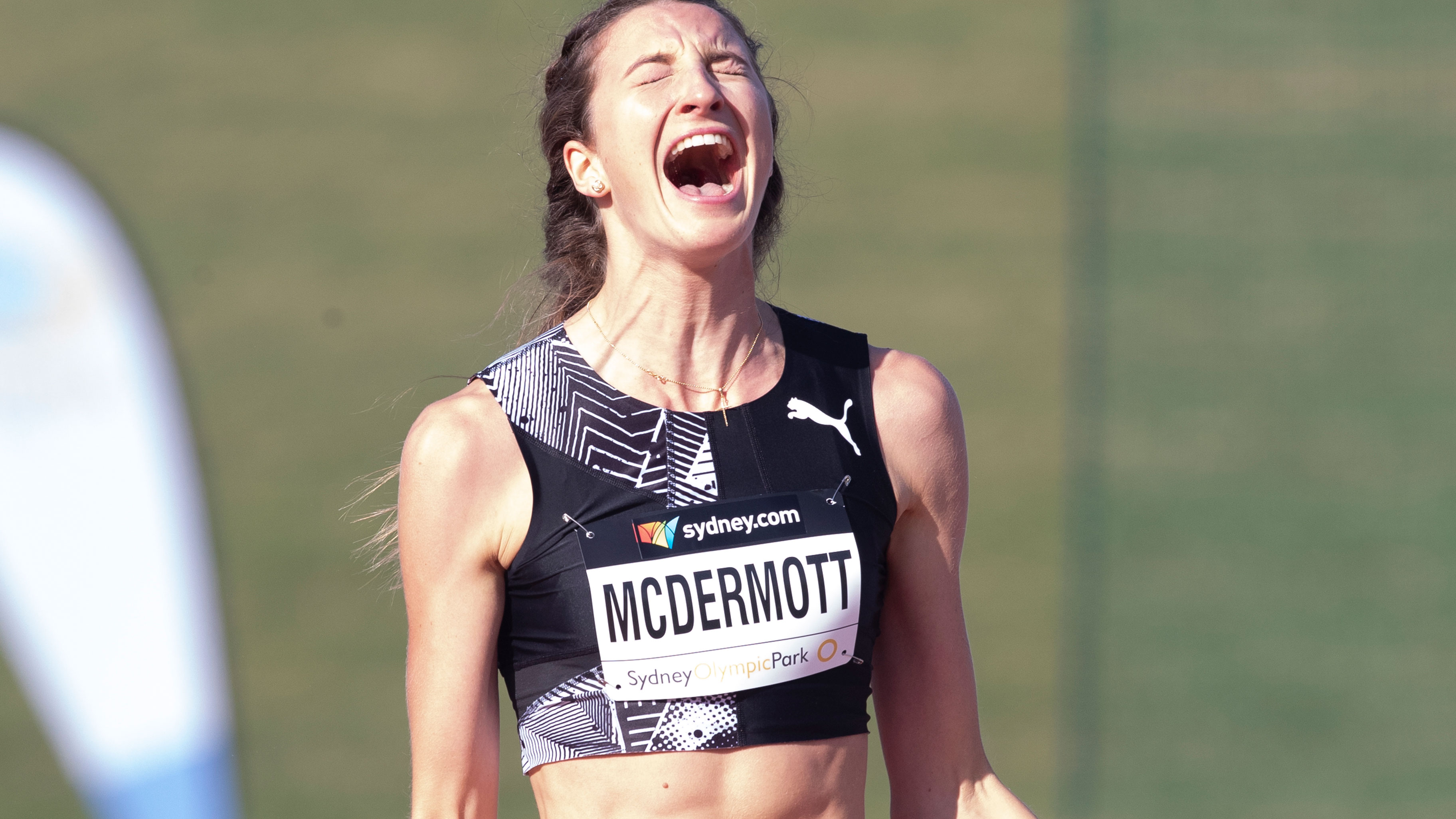 Nicola McDermott celebrates after breaking the national high jump record. Photo: Steve Christo