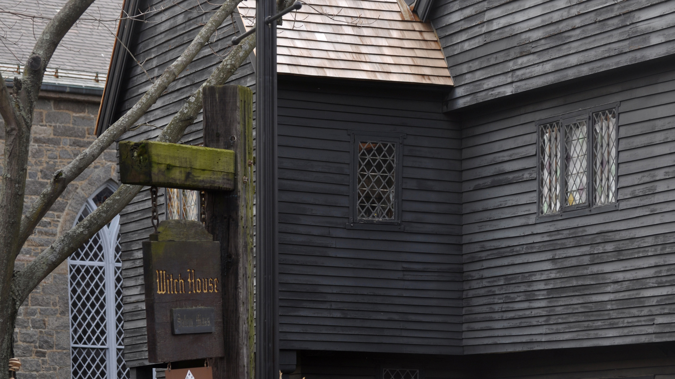 The Judge Jonathan Corwin House also known as The Witch House: Black old historical house in Salem, MA,  is the only structure still standing in Salem with direct ties to the Witchcraft Trials of 1692.