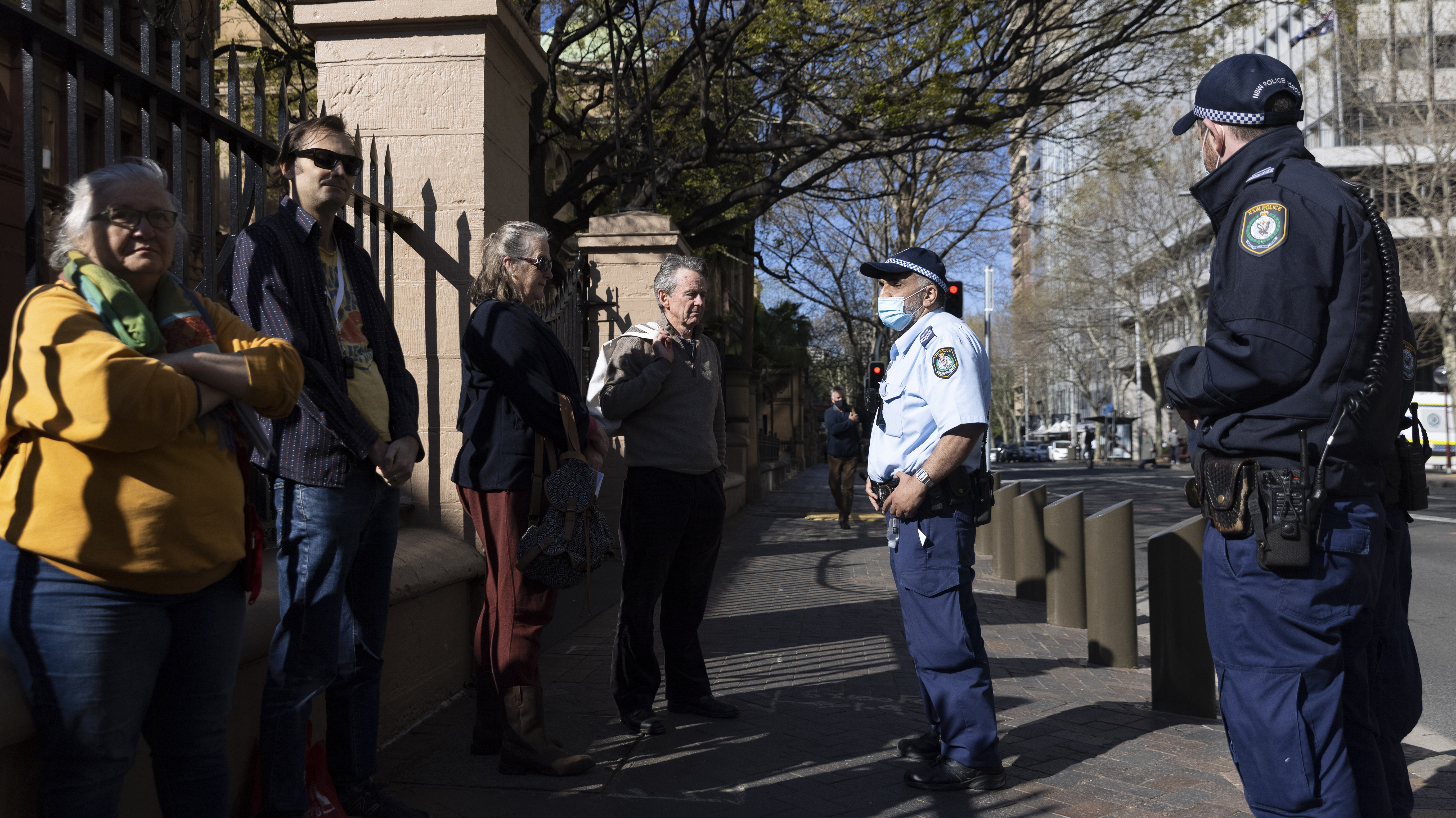 A group of protesters at the NSW Parliament