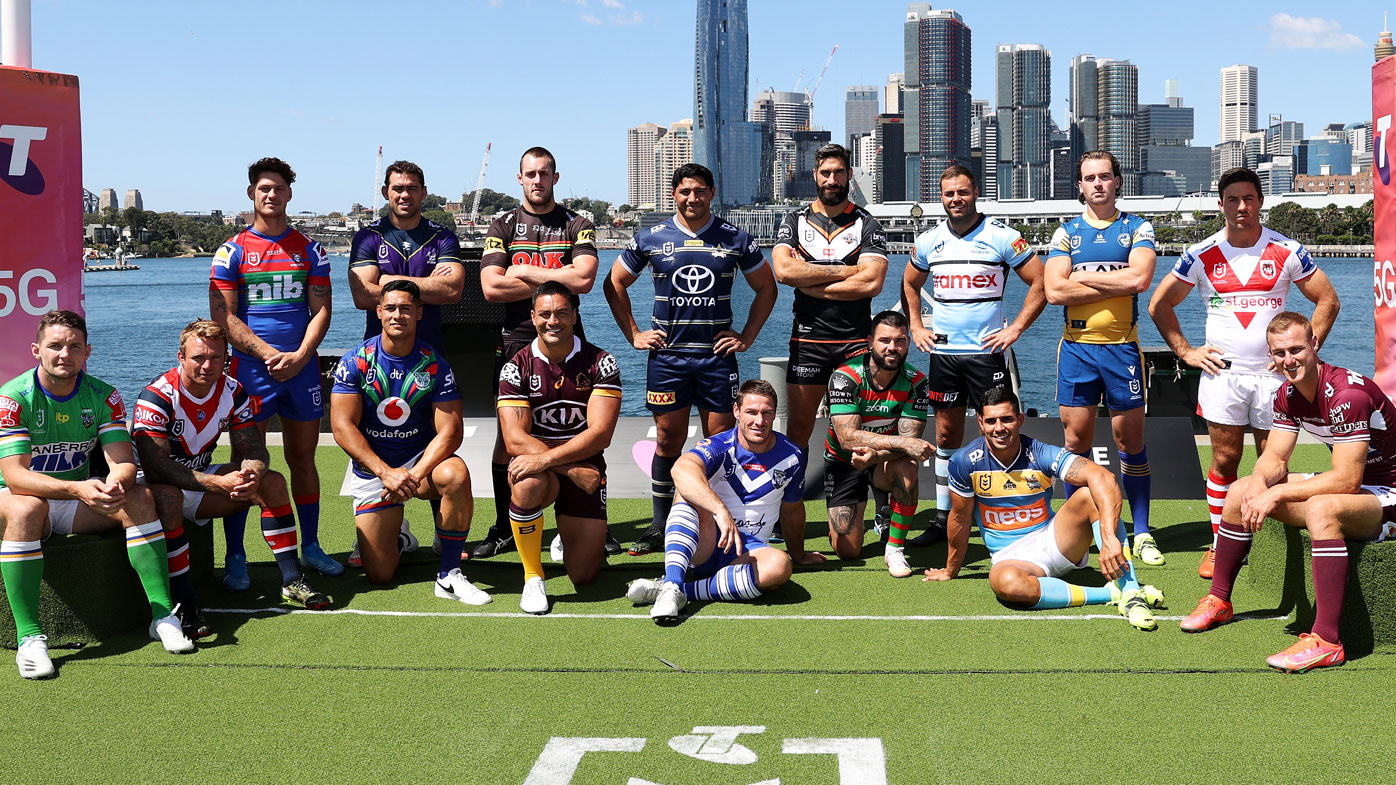 All 16 NRL captains were out in force at the 2021 season launch. (Getty)