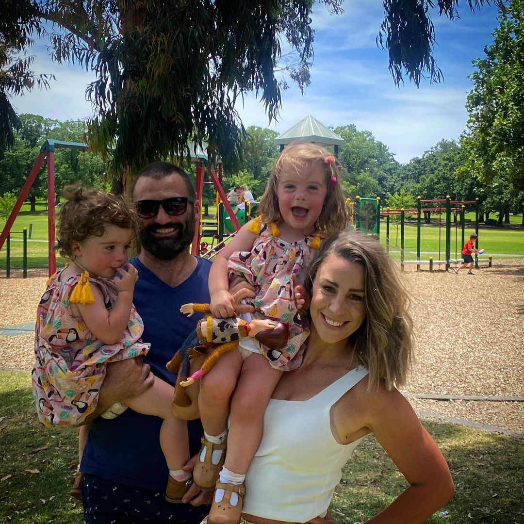 Laura Turner, husband Daniel McPherson and their twin daughters Isabel and Matilda.