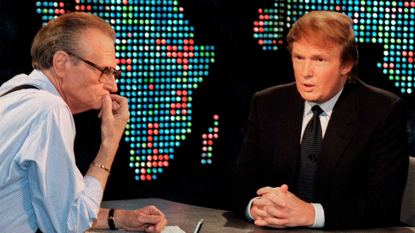 Donald Trump speaks to Larry King during his first presidential campaign for the Reform Party in 1999.