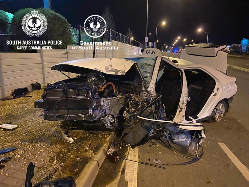 SA police and paramedics were called to the corner of Seaford Road and Main South Road after a vehicle collided with a brick wall of a business.