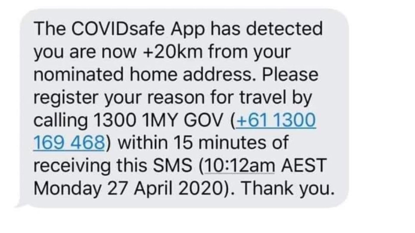 Hoax text 'from COVIDSafe app' claims to track users