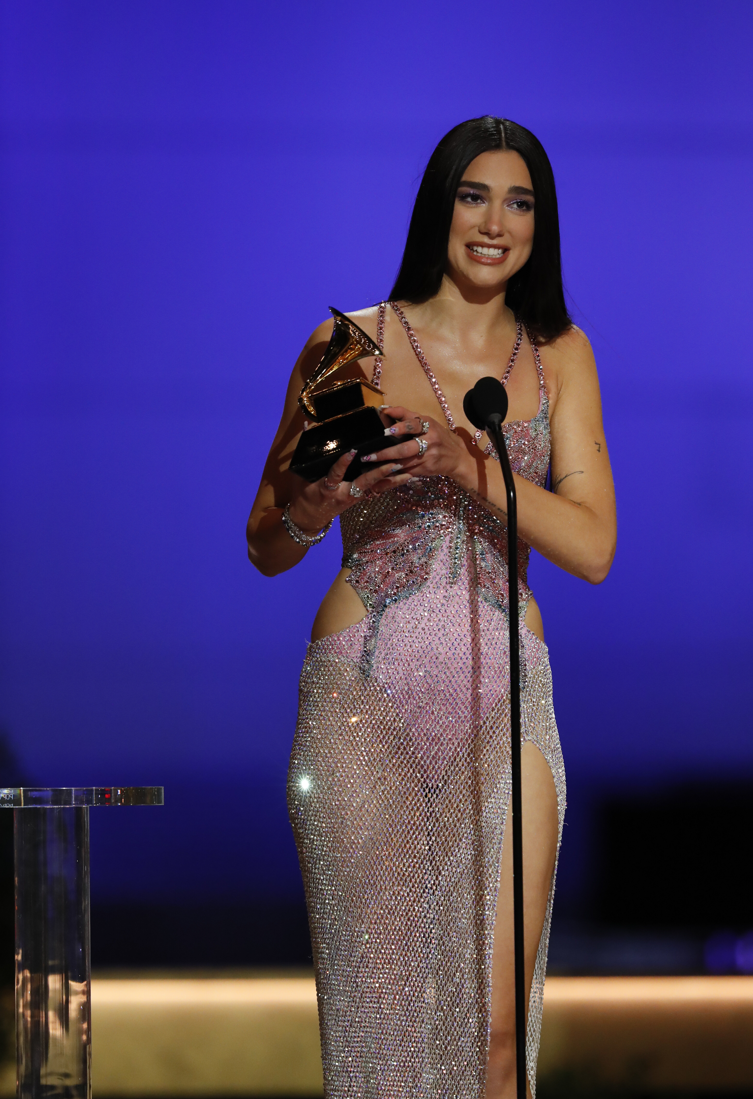 Dua Lipa wins the award for Best Pop Vocal at THE 63rd ANNUAL GRAMMY® AWARDS, broadcast live from the STAPLES Center in Los Angeles, Sunday, March 14, 2021