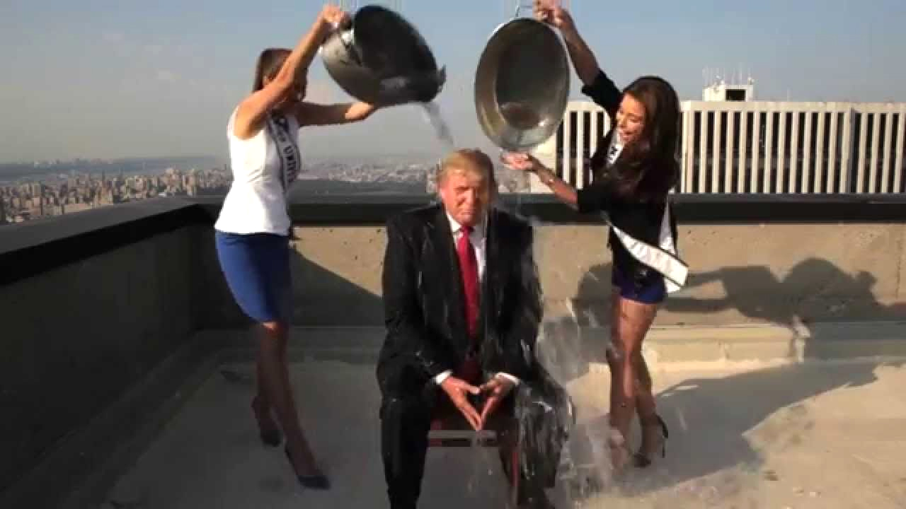 In August 2014 Donald Trump did the ice bucket challenge on the roof of Trump Tower in New York. He dared then US President Barack Obama to do the same.