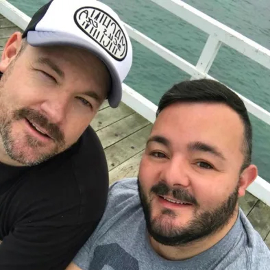 Melbourne couple James Price and Steven Somers (right) have had their European holiday plans thrown into disarray after Fly365 went bust.