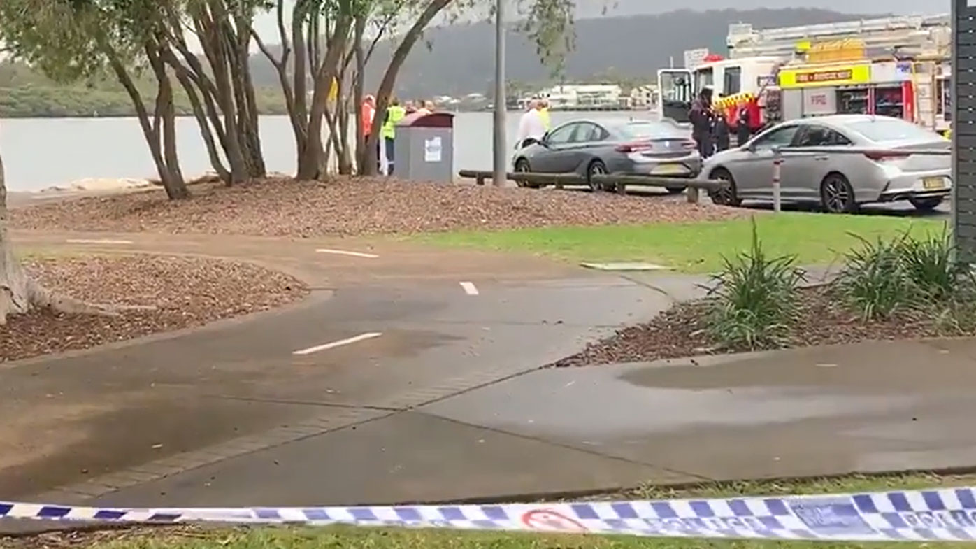 A crime scene at the boat ramp in Woy Woy, on the NSW Central Coast.