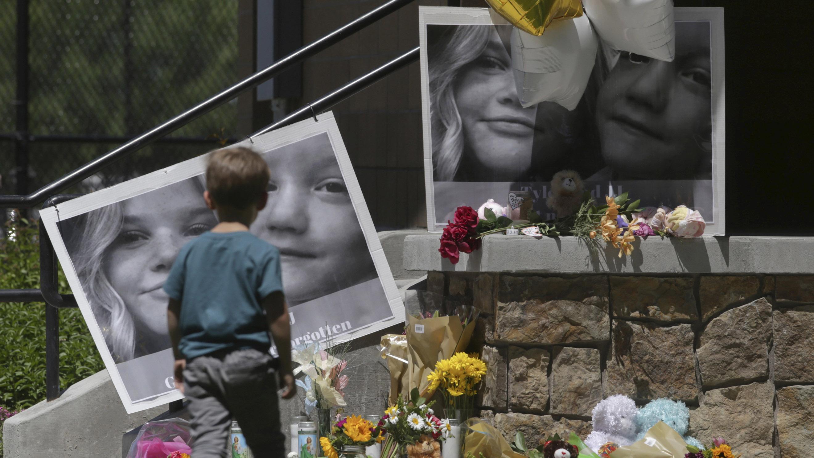 "A memorial for Tylee Ryan, 17, and Joshua ""JJ"" Vallow, seven, at Porter Park in Rexburg, Idaho."