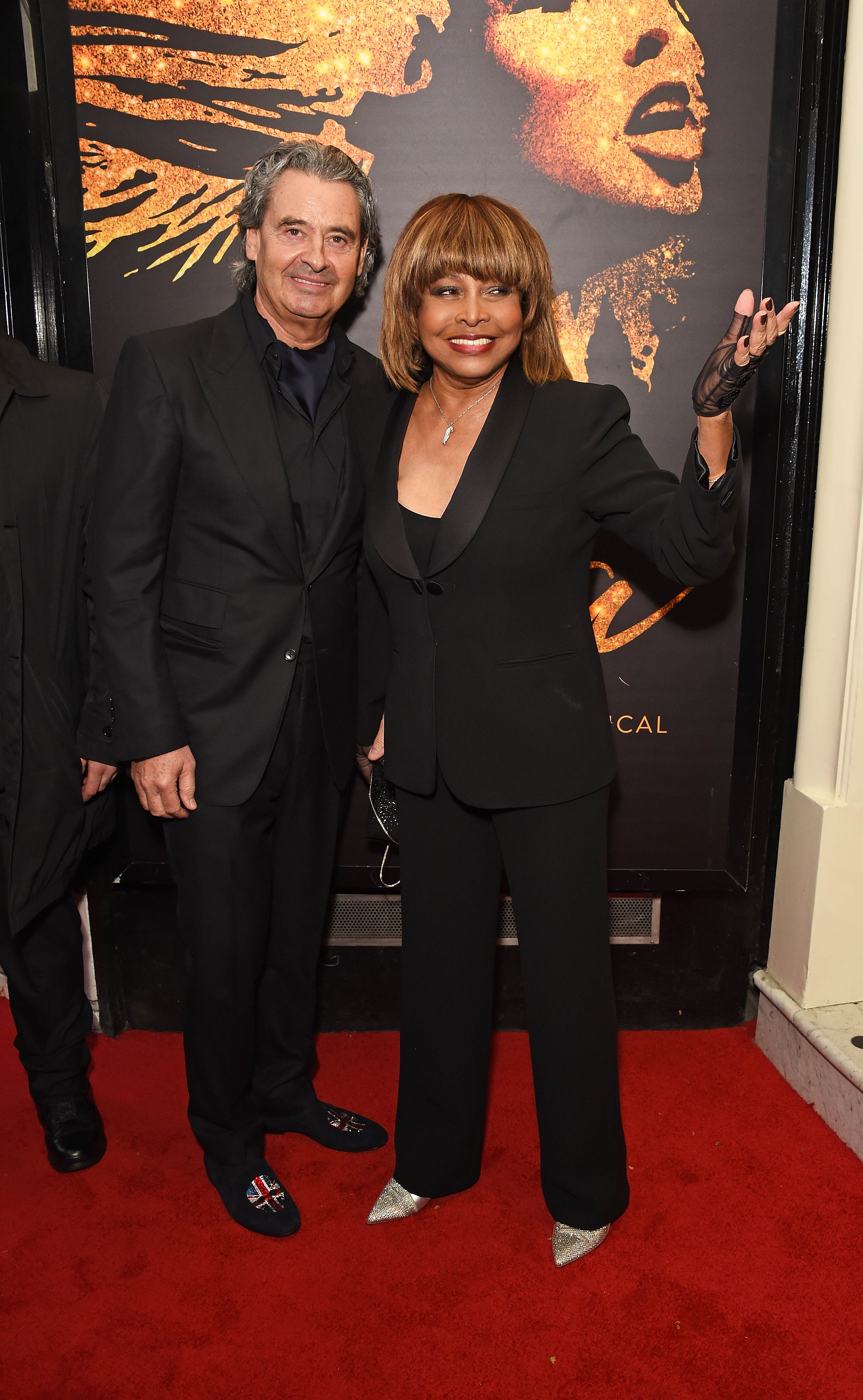 """Tina Turner arrives at the press night performance of """"Tina: The Tina Turner Musical"""" at the Aldwych Theatre on April 17, 2018 in London, England."""
