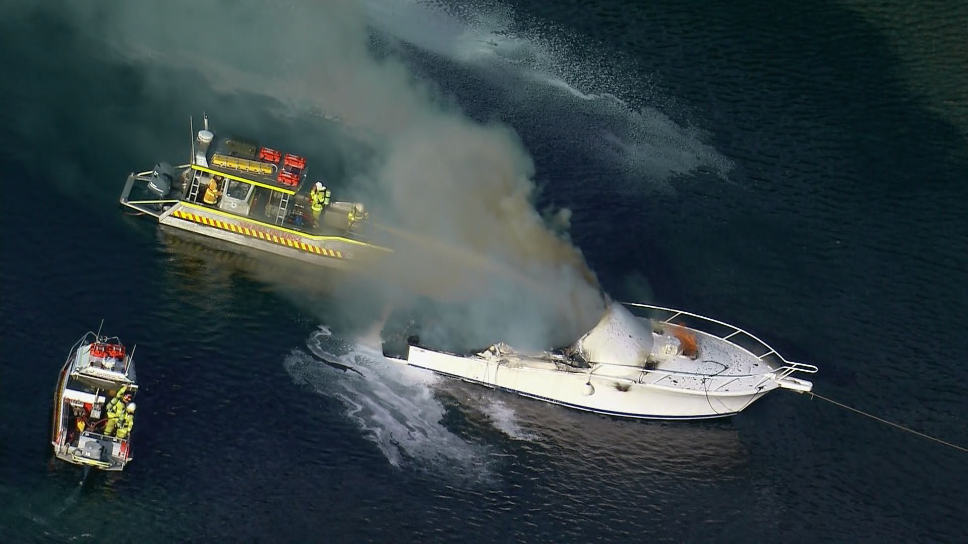 Fire on boat in Sydney's north