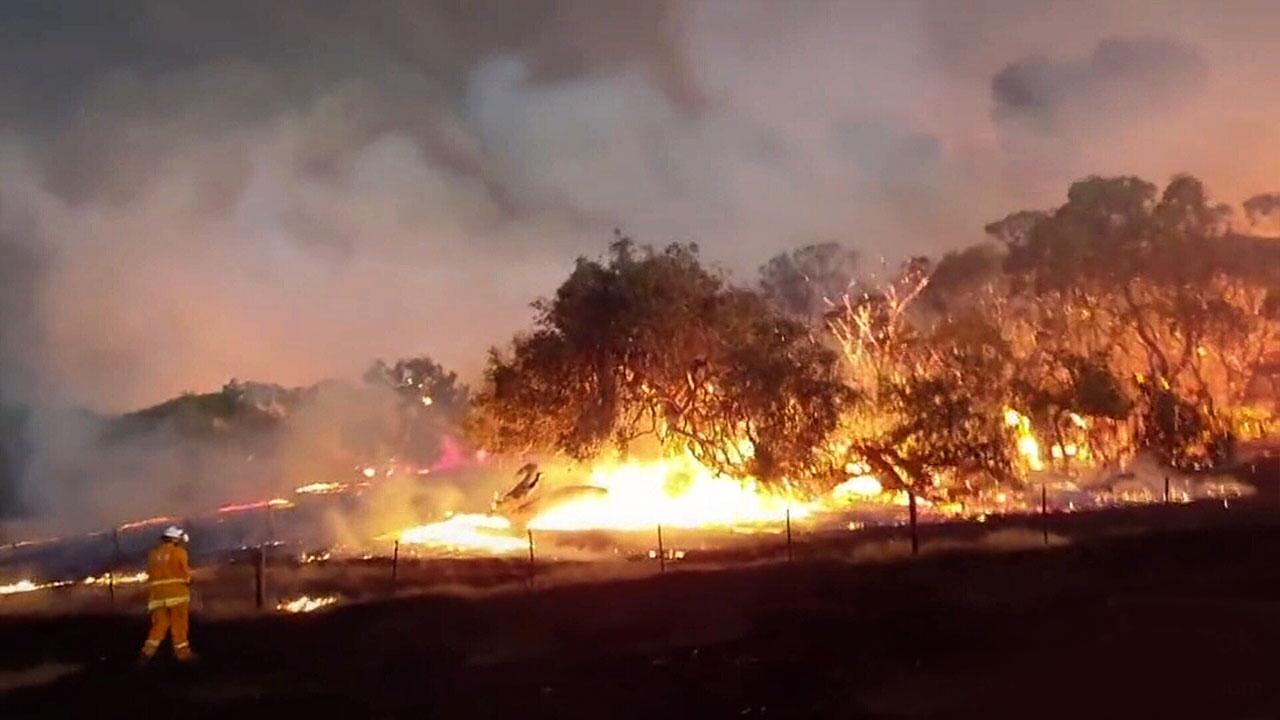 Flames on Kangaroo Island at the weekend.