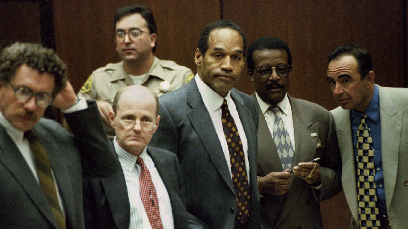 O.J. Simpson is shown with members of his defence team as the jury enters the court April 5 in the Simpson double-murder trial. They are Alan Dershowitz, Robert Blasier, Simpson, Johnny Cochran and Robert Shapiro.