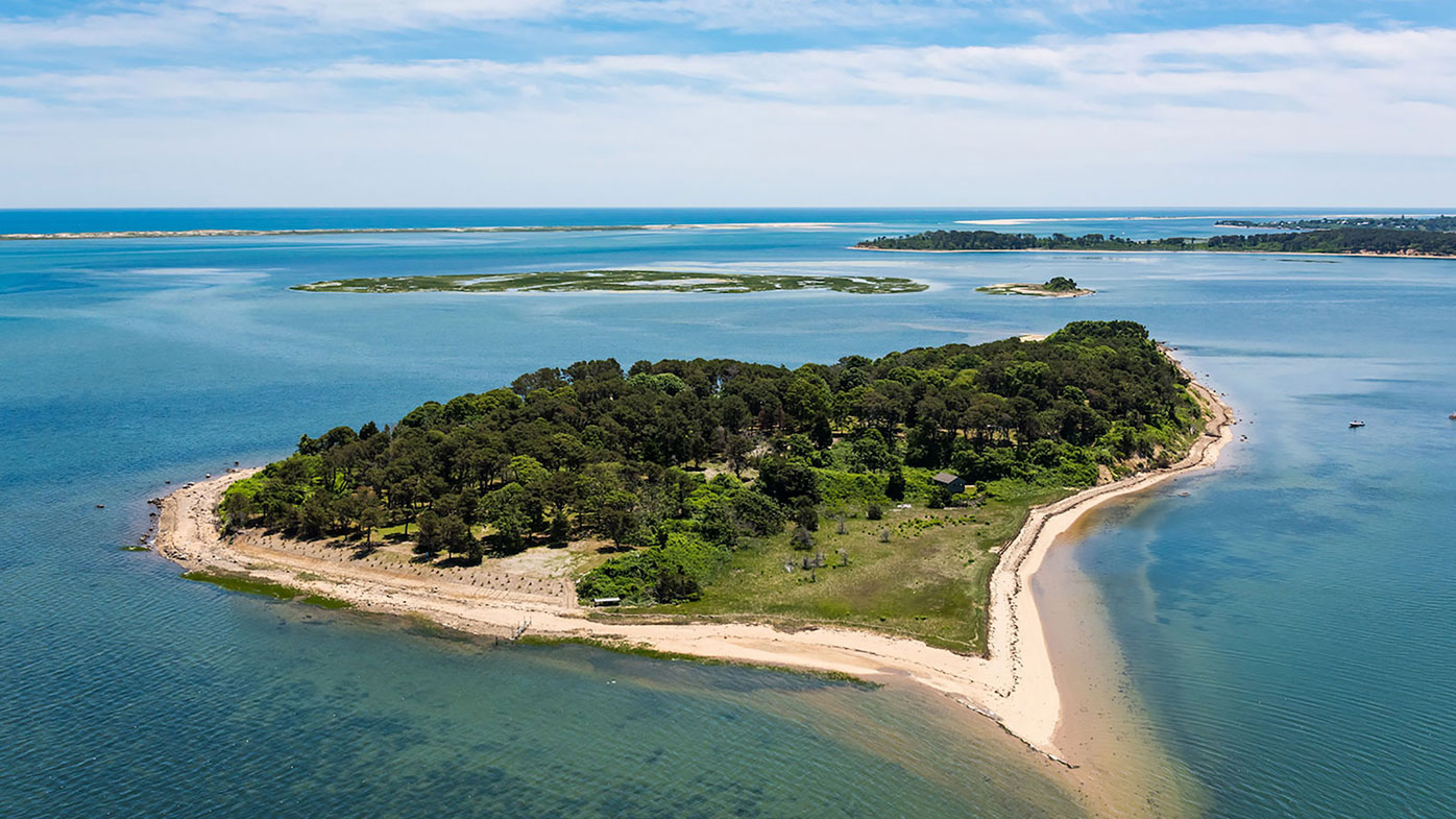 Sipson Island seen from the air off the coast of Cape Cod.