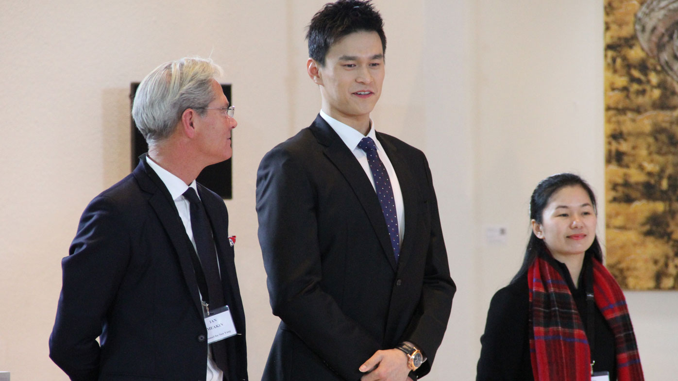 Chinese swimmer Sun Yang looks on prior to a public hearing before the Court of Arbitration for Sport (CAS)