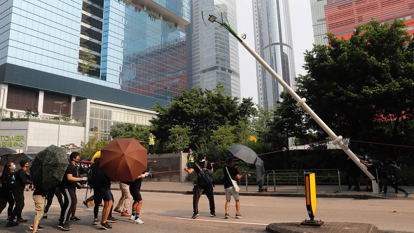 'Smart lamppost' torn down in Hong Kong as fears of nanny state grow