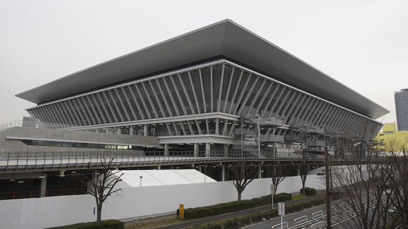 A picture shows the Tokyo Aquatics Centre, a venue of Artistic Swimming, Swimming and Diving during Tokyo Olympic and Paralympic, in Koto Ward, Tokyo on Feb. 25, 2020. The facility will be completed on Feb. 28th.