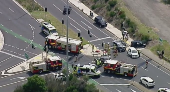 Man fighting for life after four-car collision in Melbourne