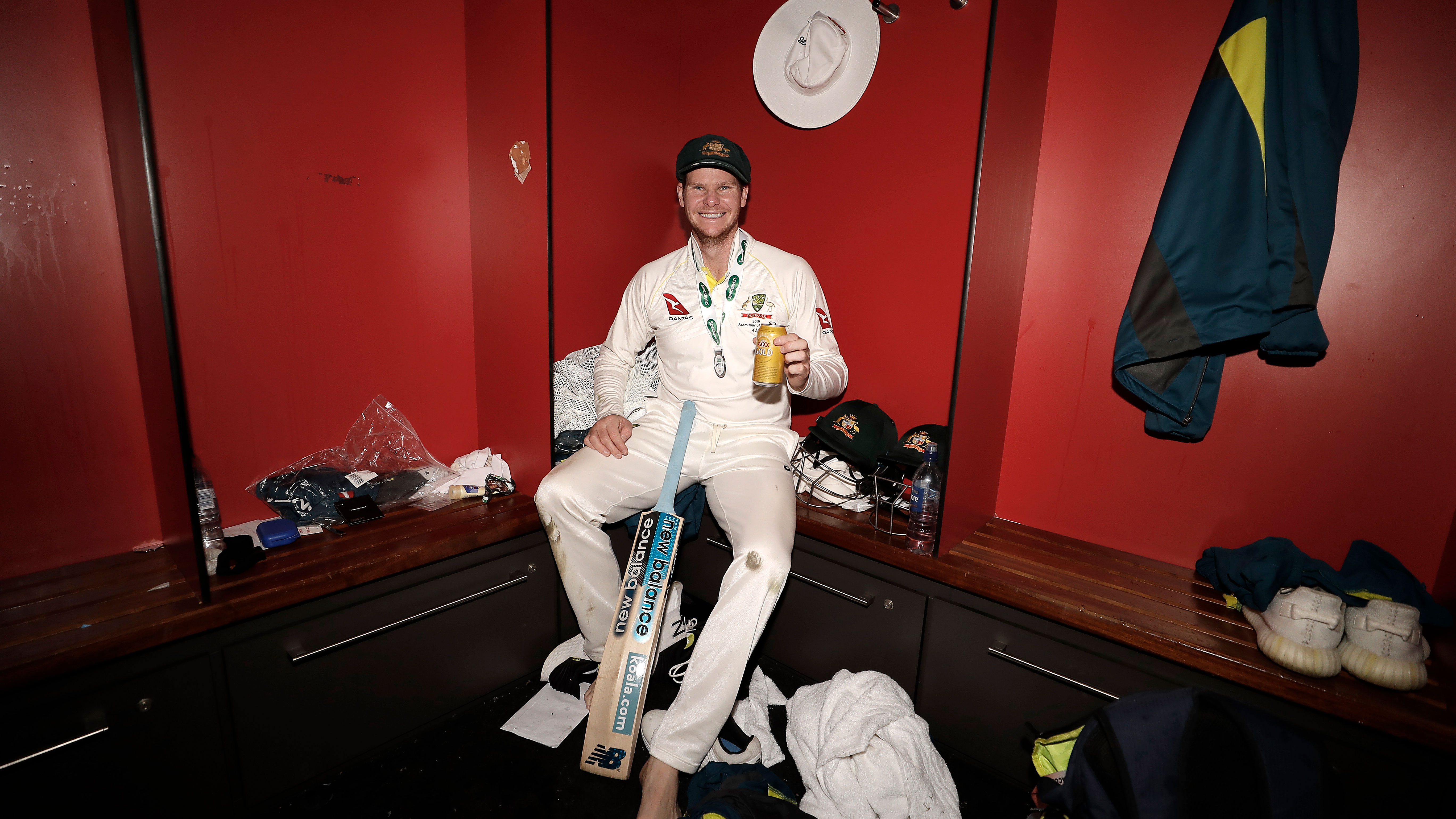 Steve Smith in a quiet moment of reflection following an extraordinary Test match of world class batting from the best batsman in the world.
