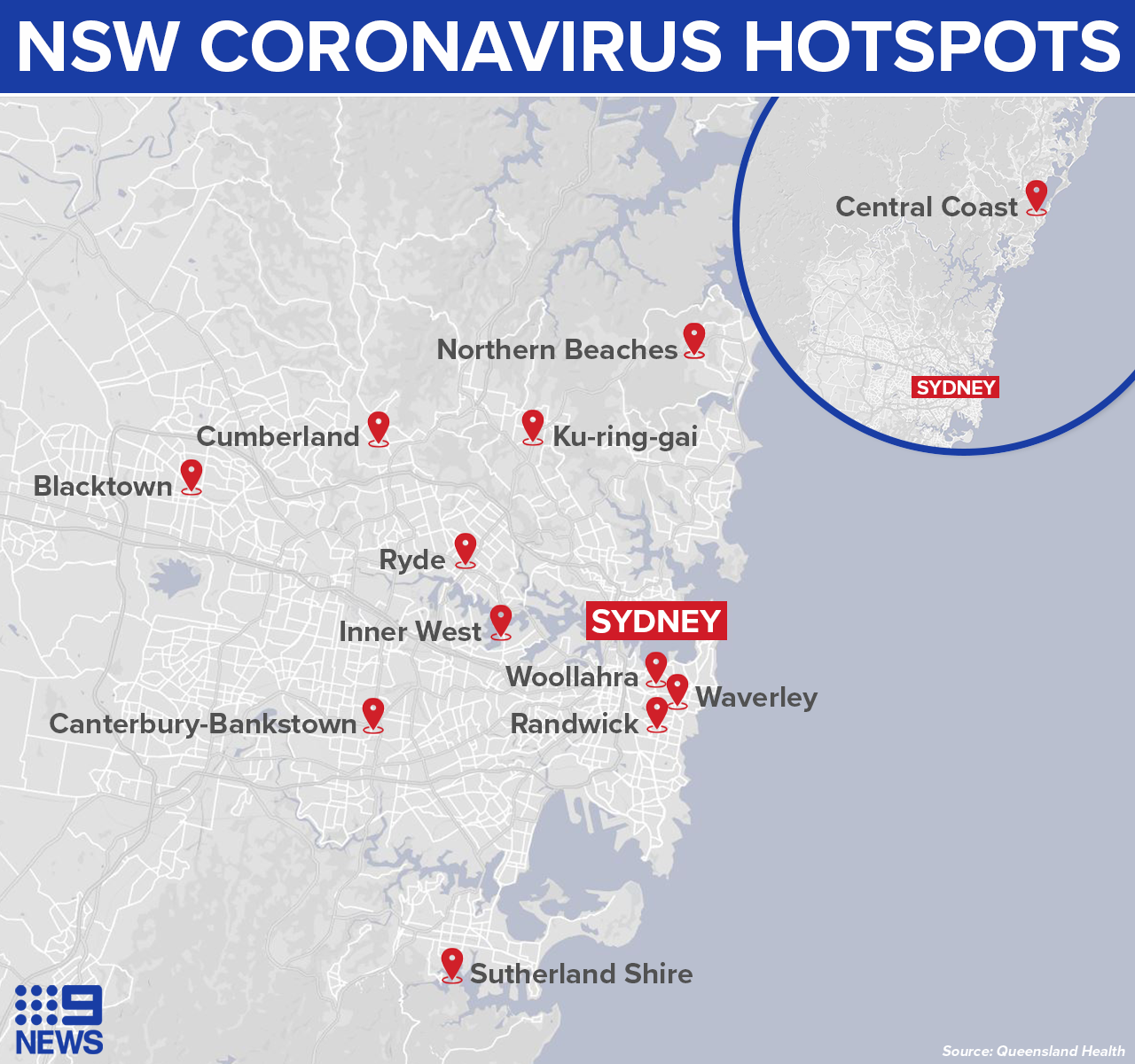 COVID-19 hotspots in NSW revealed