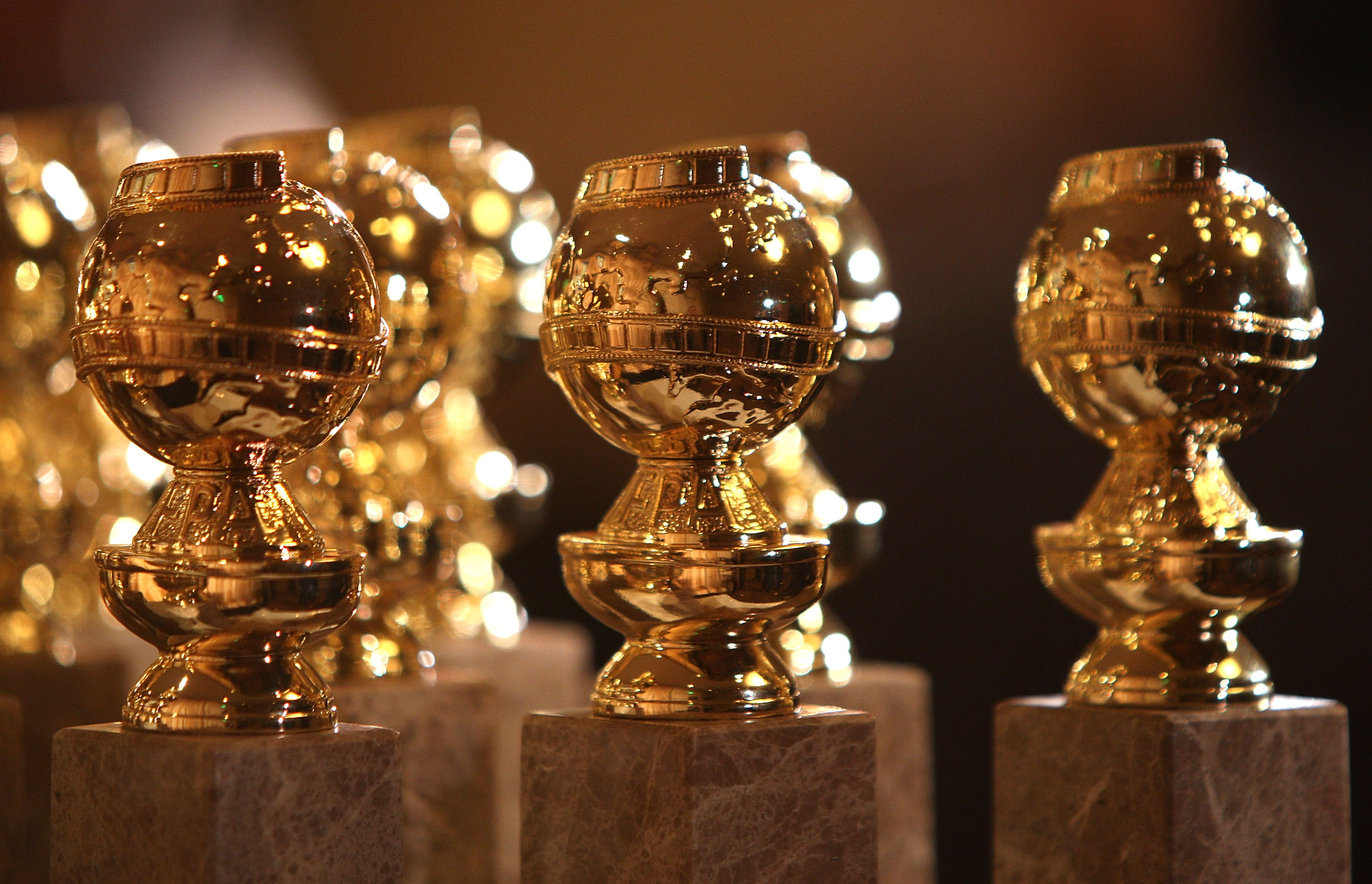 The Golden Globe Statuettes.