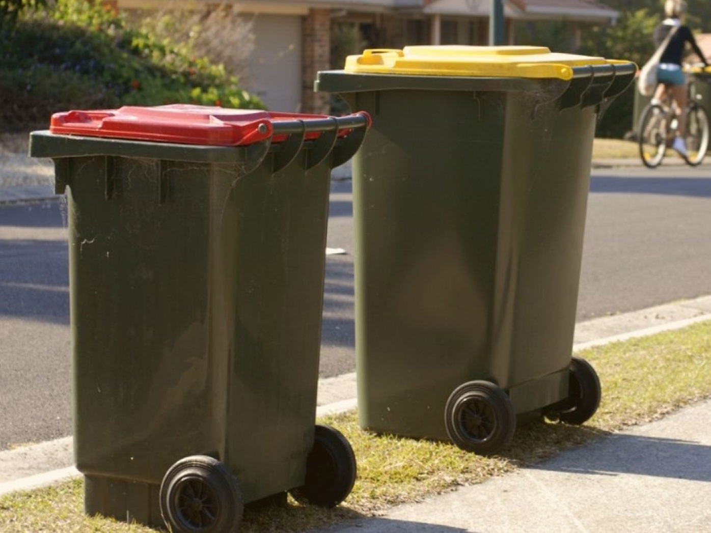 Australian rubbish bins on a suburban street
