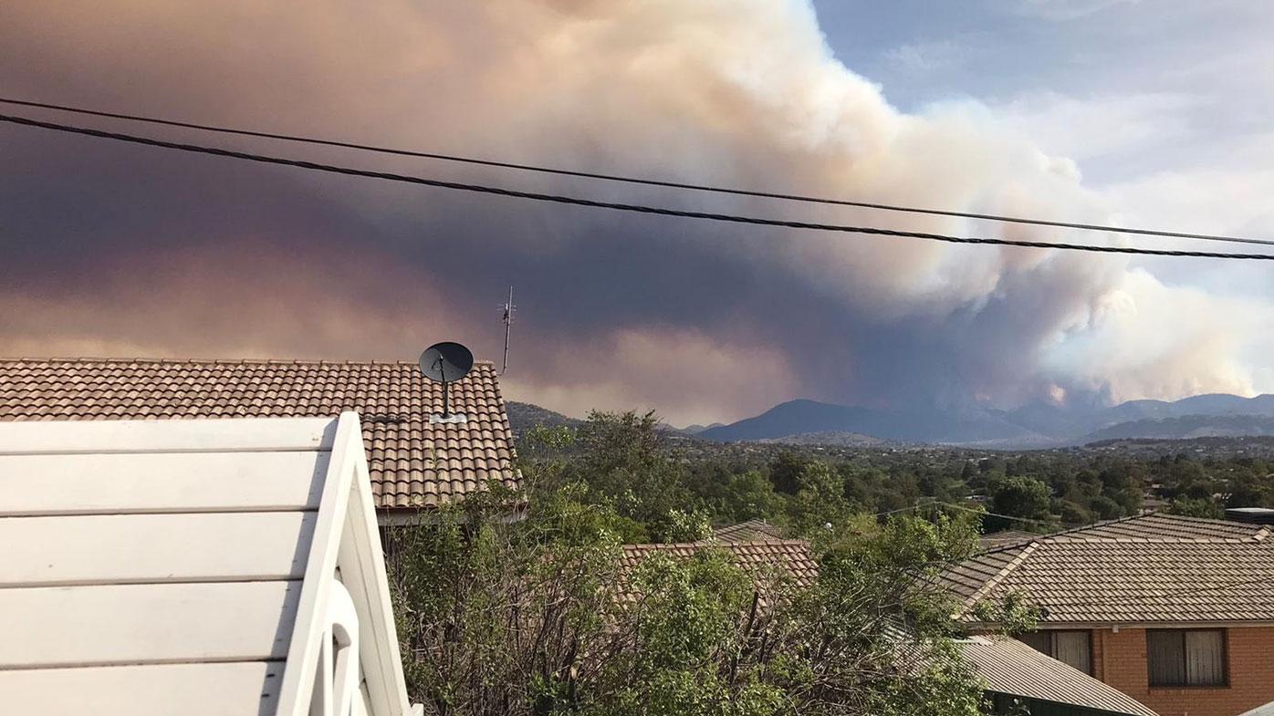 Emergency warning for a bushfire burning near the Namadgi National Park south of Canberra.