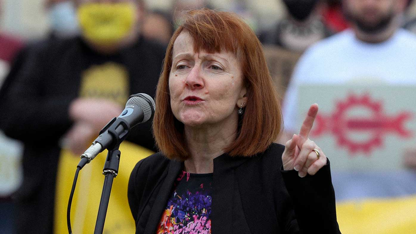 Senator Rachel Siewert during a protest against the low rate of the Jobseeker payment in March.