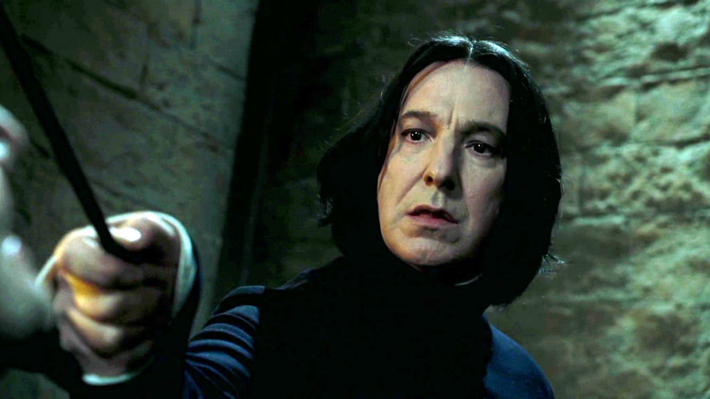 In the Harry Potter series Rickman played wizard Severus Snape, a teacher at Hogwarts.