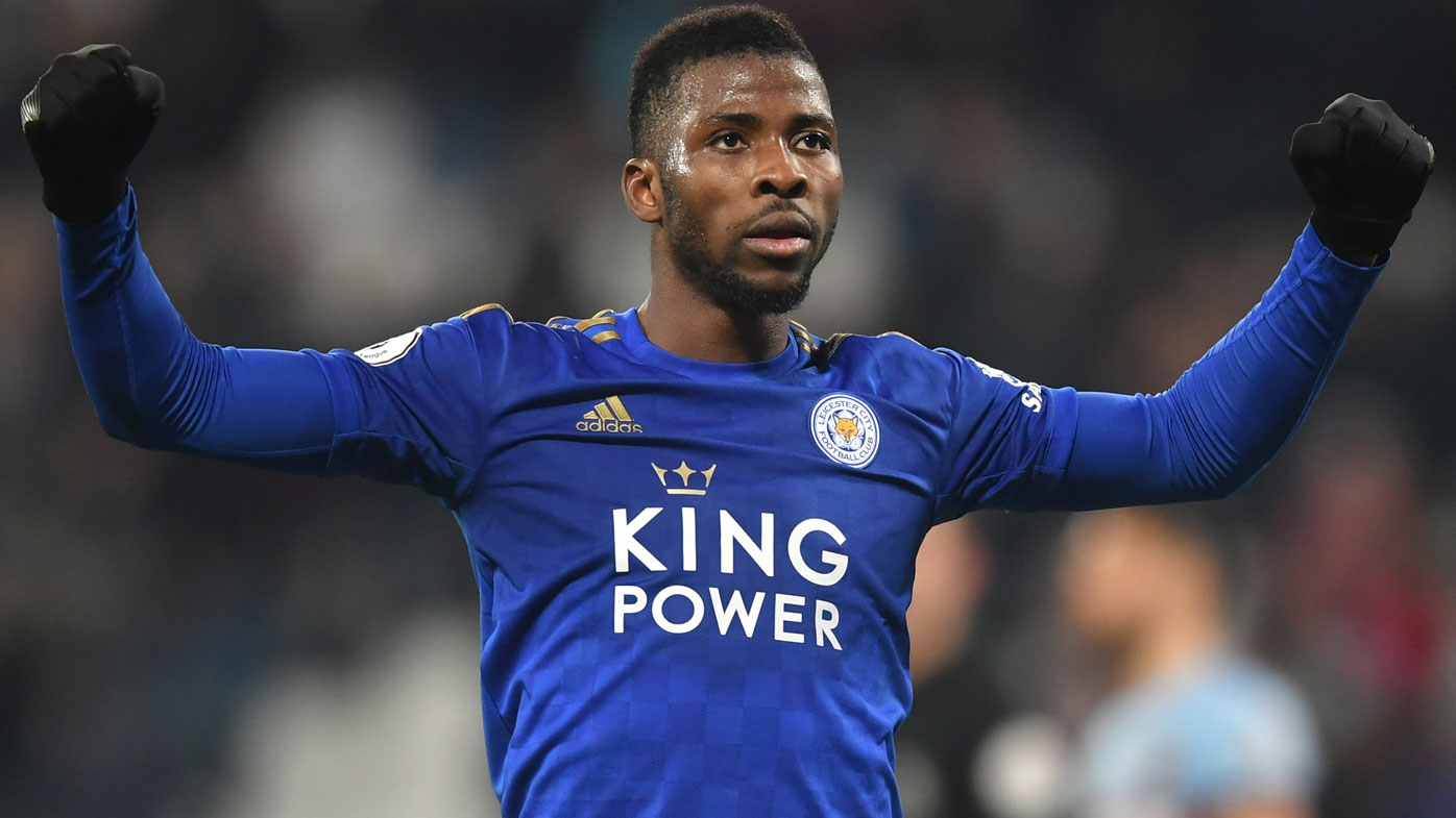Kelechi Iheanacho celebrates his goal for Leicester against West Ham