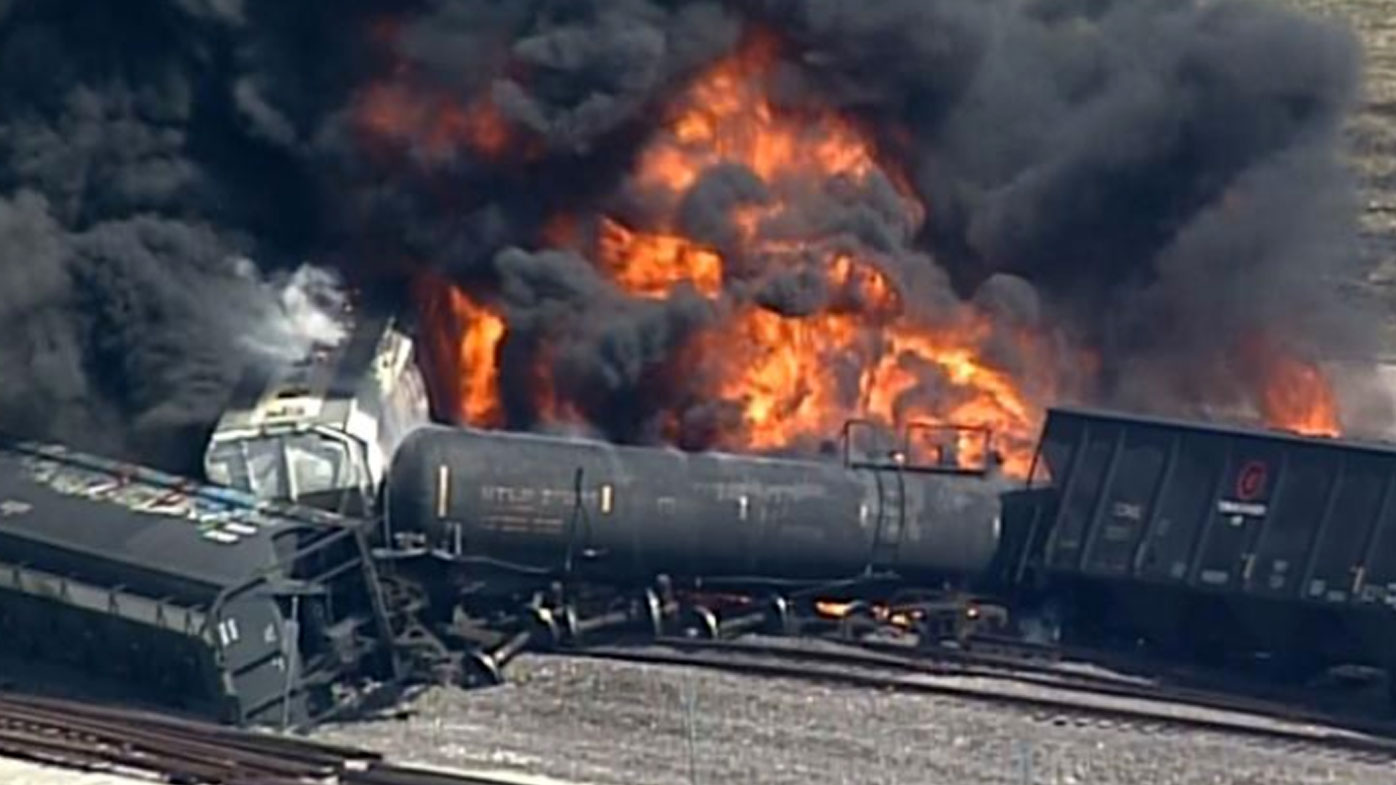 Fire on derailed US train triggers mass evacuations