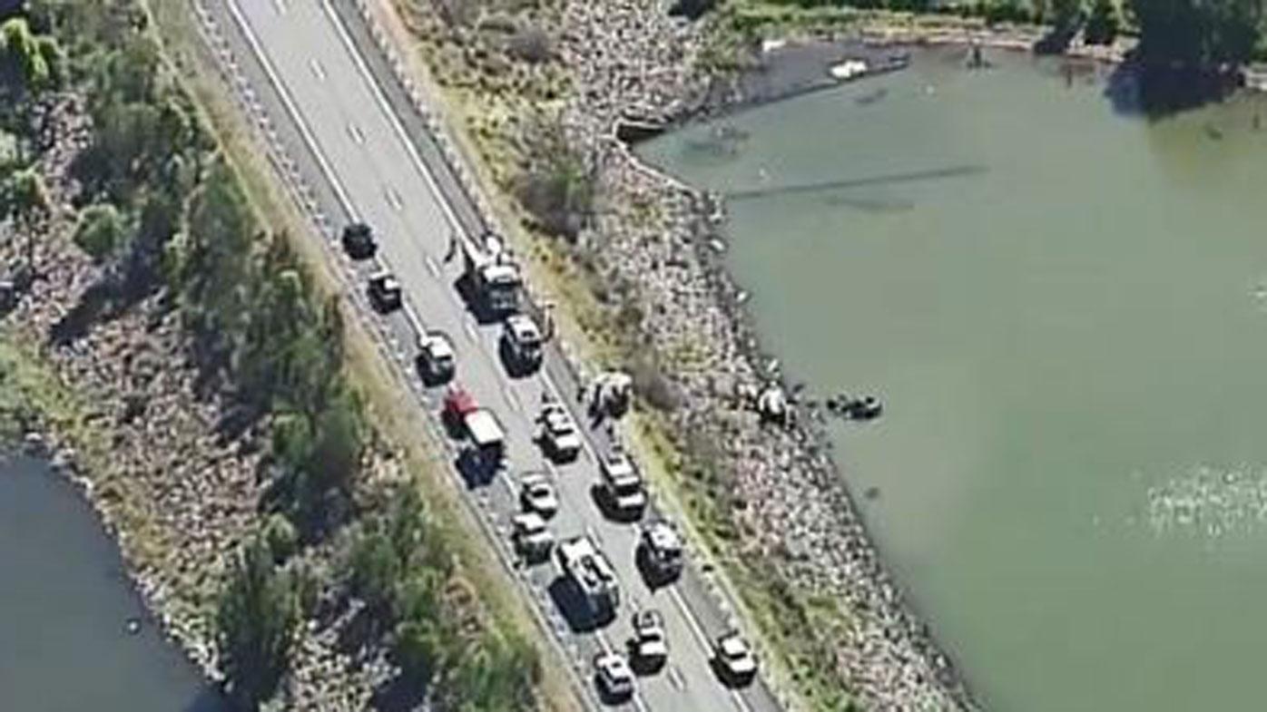 Serious crash at Queensland dam in Wyaralong.