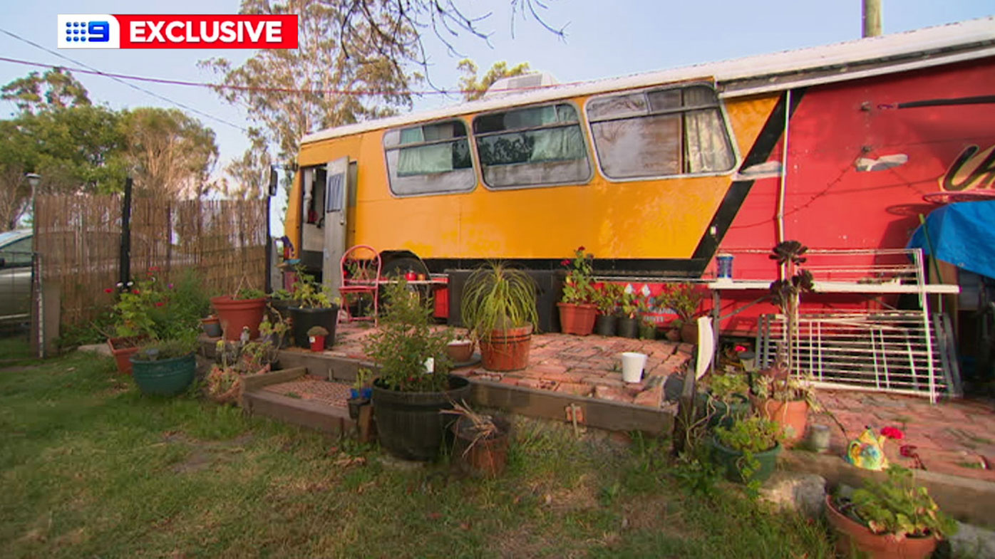 The bus that has become Veronica Coen and her daughter Kara's home.