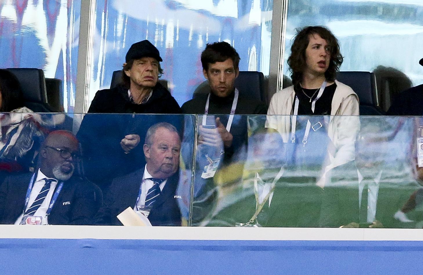 Mick Jagger, James Jagger, Lucas Morad-Jagger, soccer game, FIFA World Cup