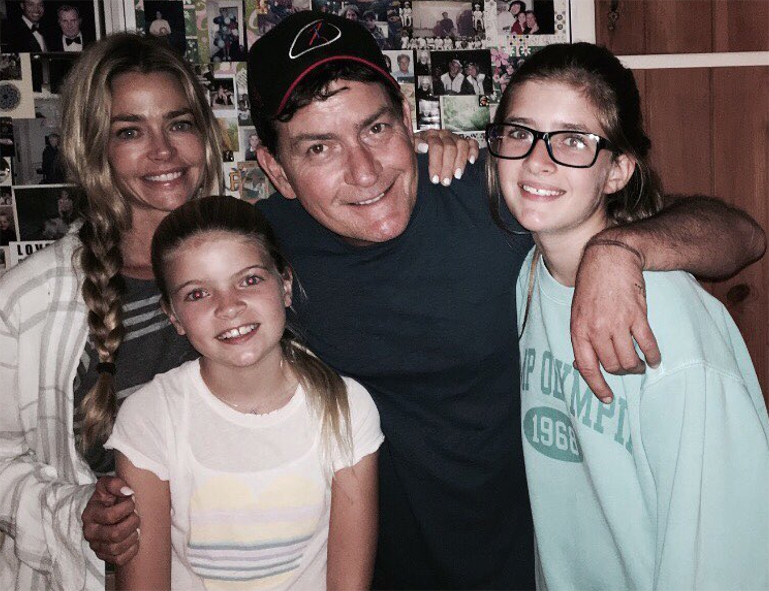Denise Richards and Charlie Sheen with their daughters.