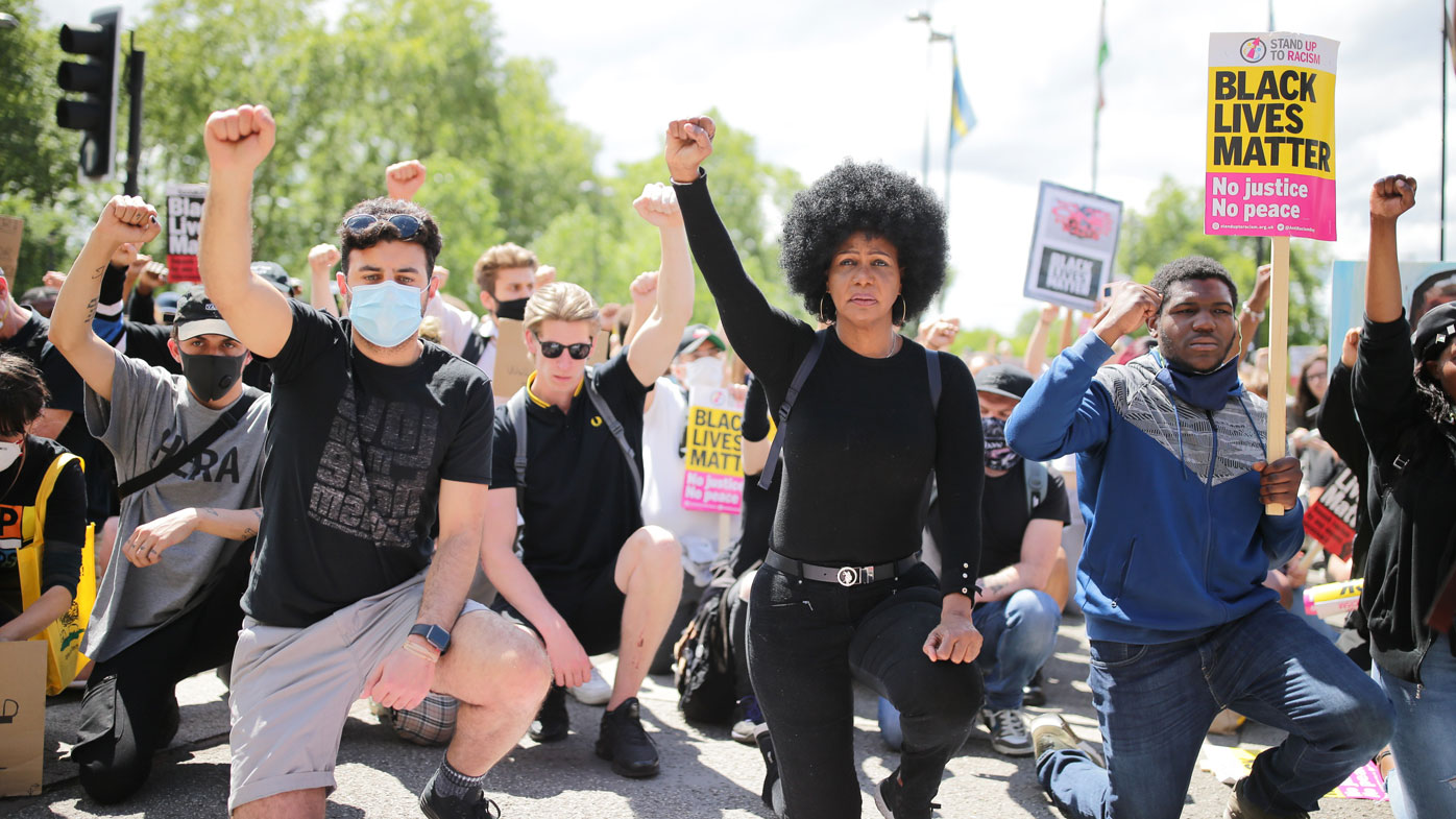 Anti-racism protesters attend a Black Lives Matter demonstration on June 13, 2020 in London, England.