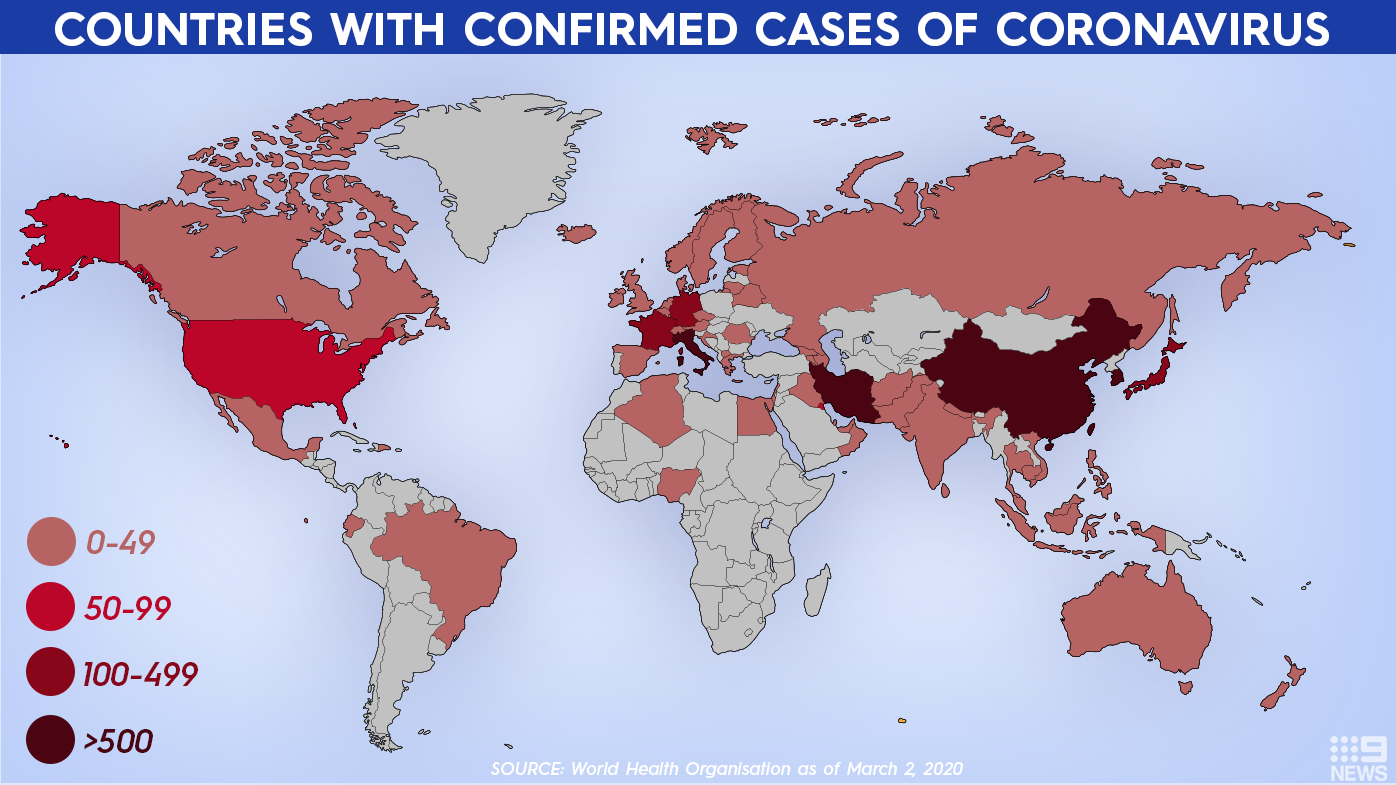Countries with confirmed coronavirus cases according to WHO.