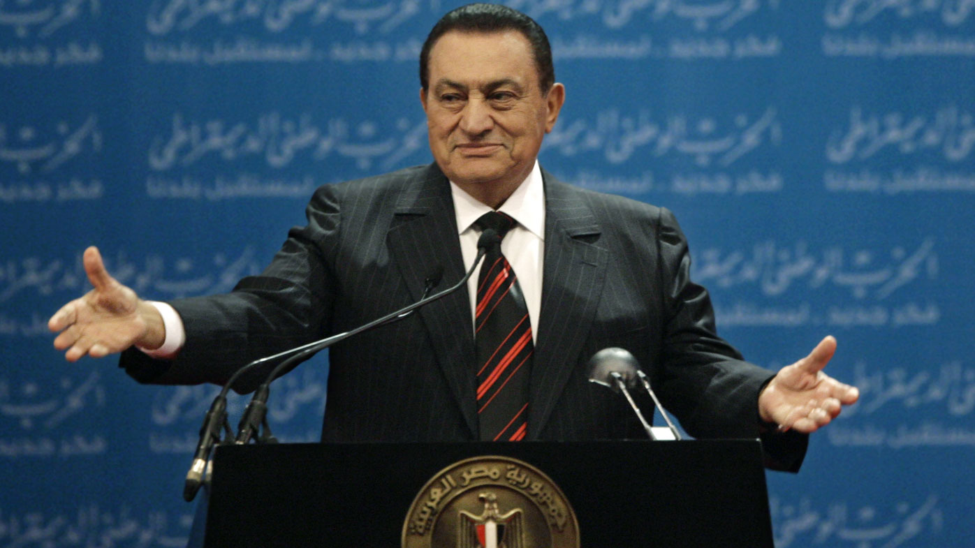 Egypt's state TV said Tuesday, Feb. 25, 2020, that the country's former President Hosni Mubarak, ousted in the 2011 Arab Spring uprising, has died at 91. (Photo Nov 2008)