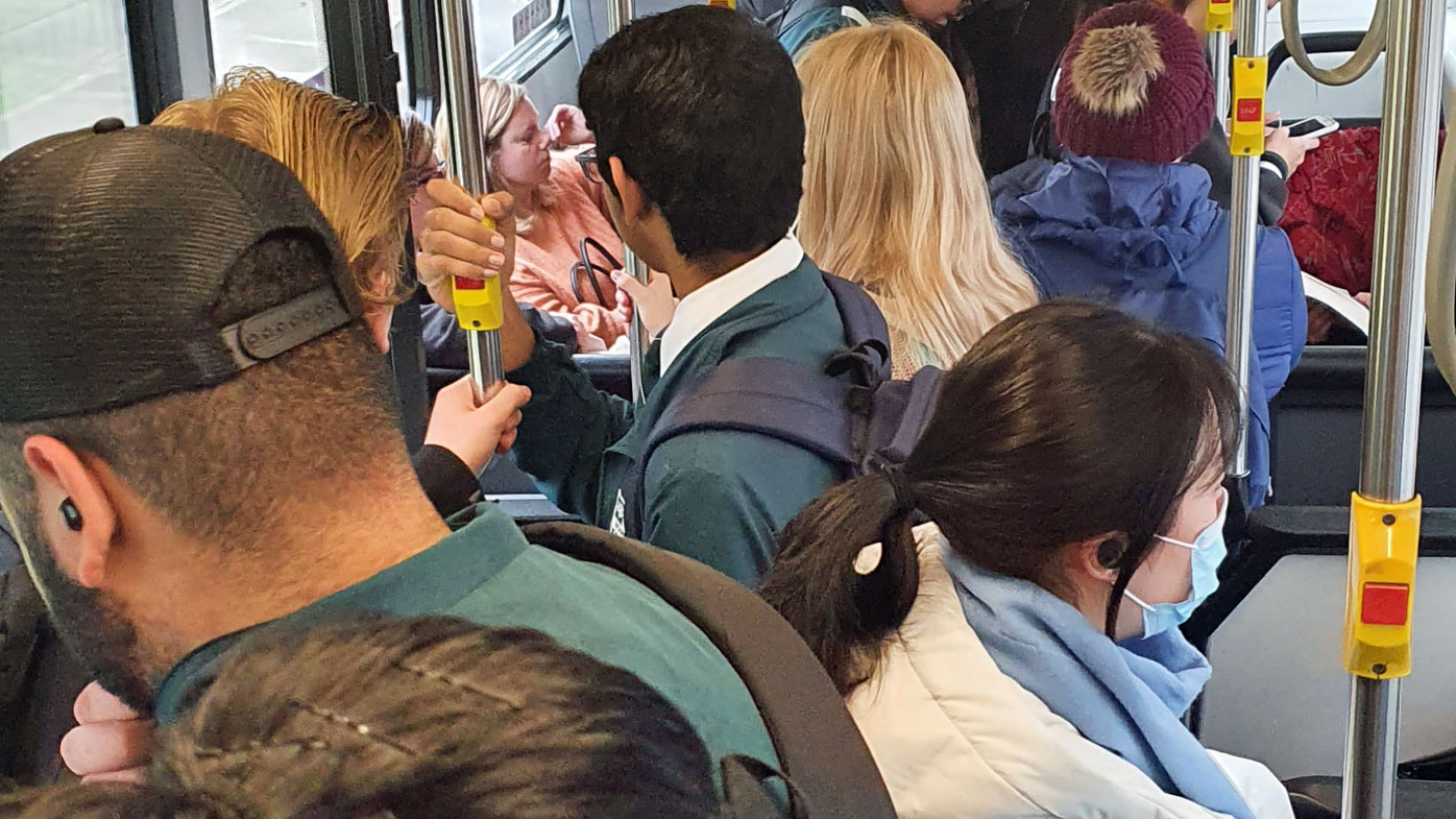 The photo, taken yesterday morning on a bus to Sydney's CBD, shows commuters unable to social distance.