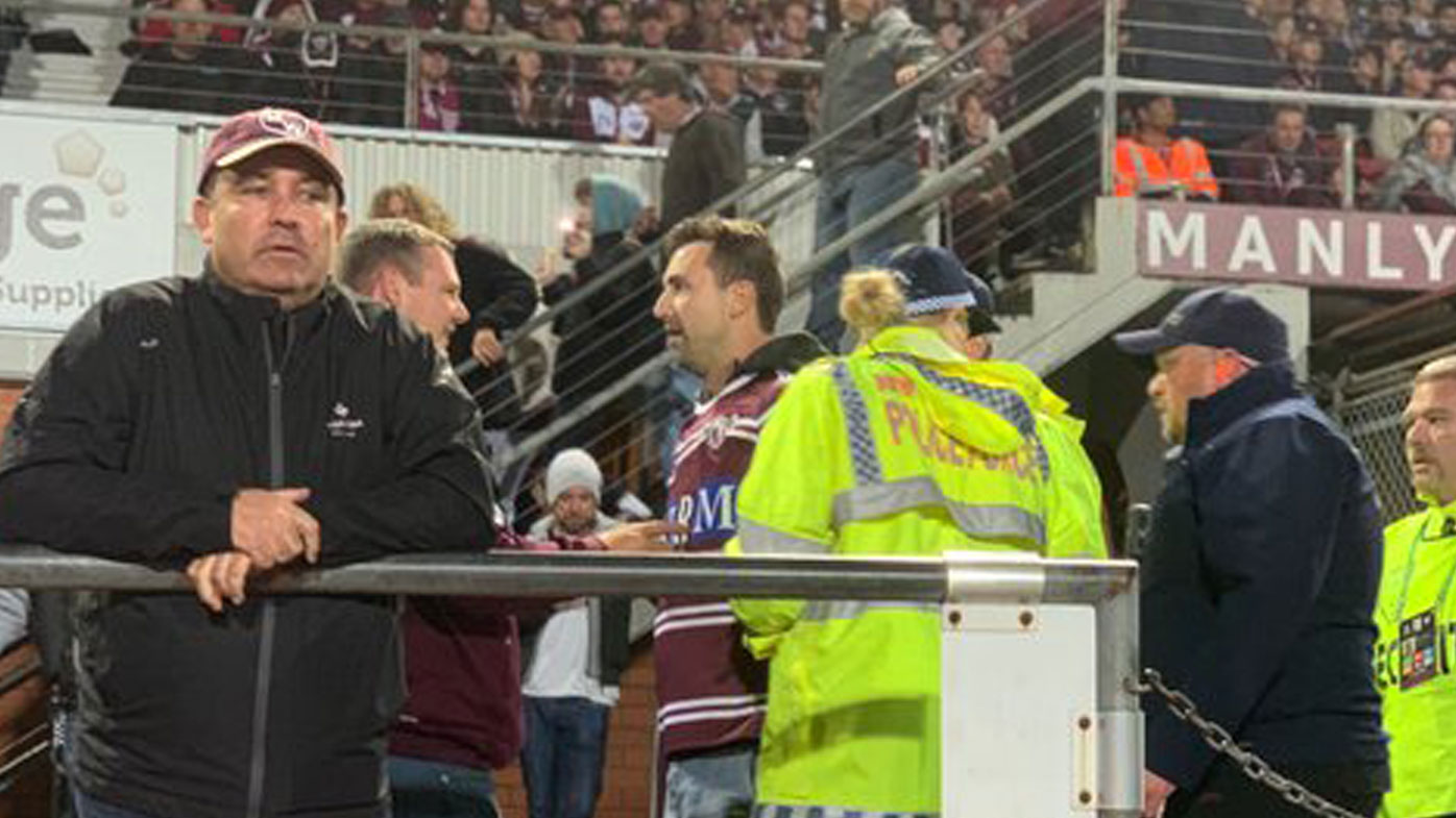 A Manly fan was reportedly arrested for trying to punch Will Chambers