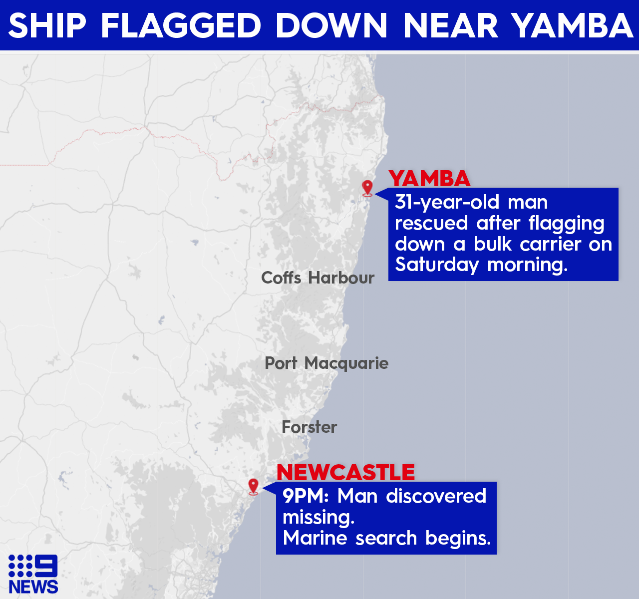 Newcastle yacht rescue stow away.