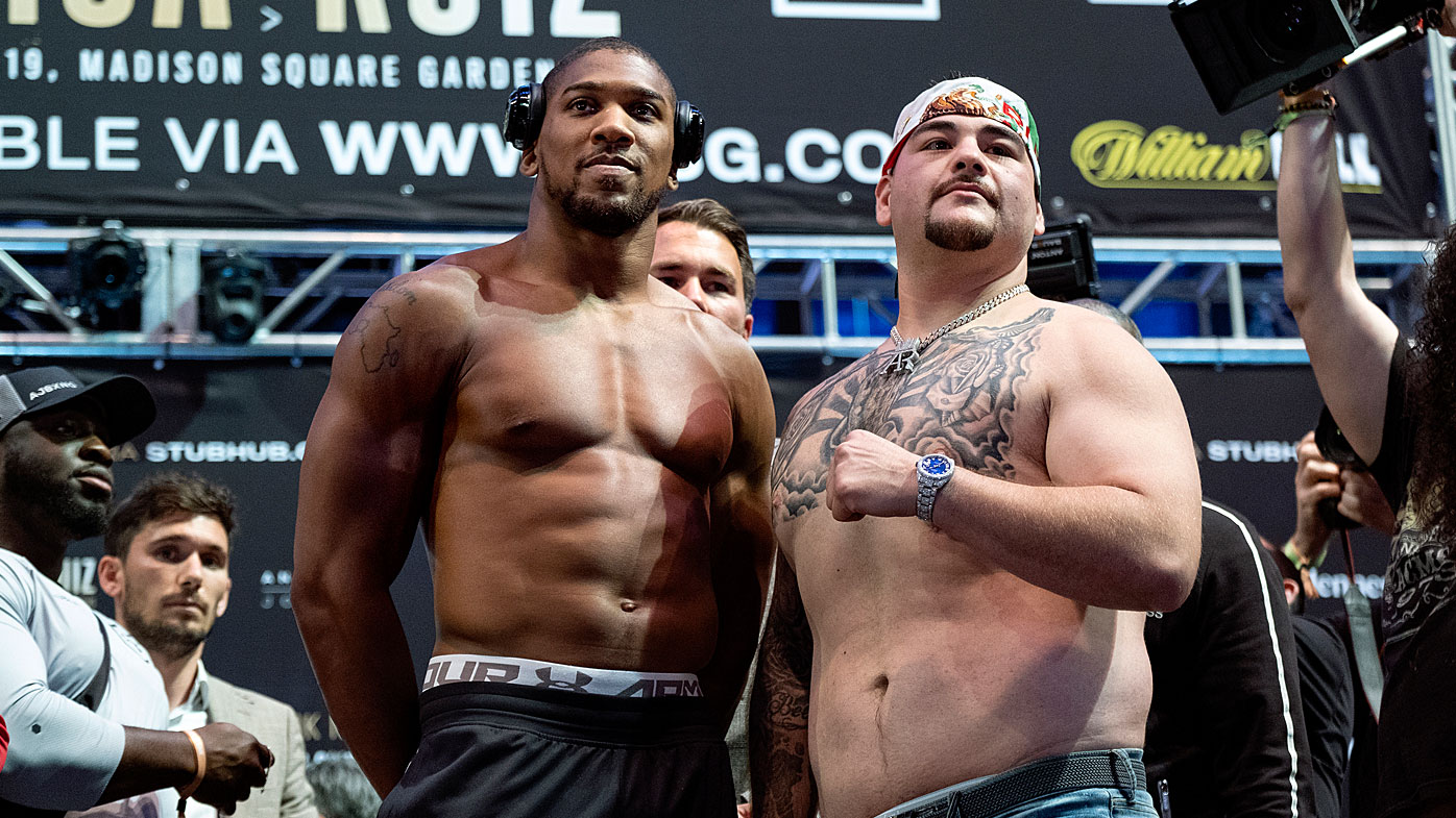 Heavyweight boxers Anthony Joshua, center left, and Andy Ruiz Jr.
