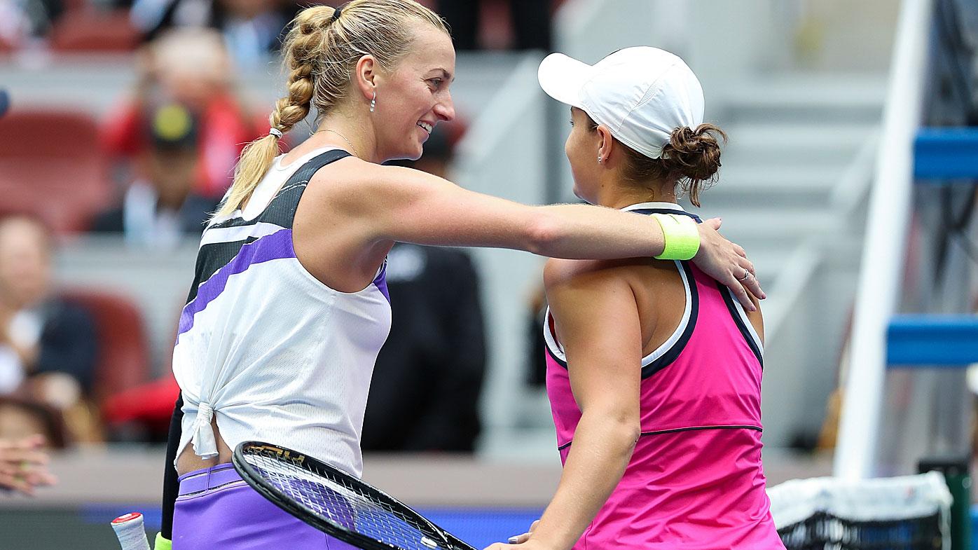Petra Kvitova of Czech Republic congratulates to Ashleigh Barty of Australia during the Women's singles Quarter Finals